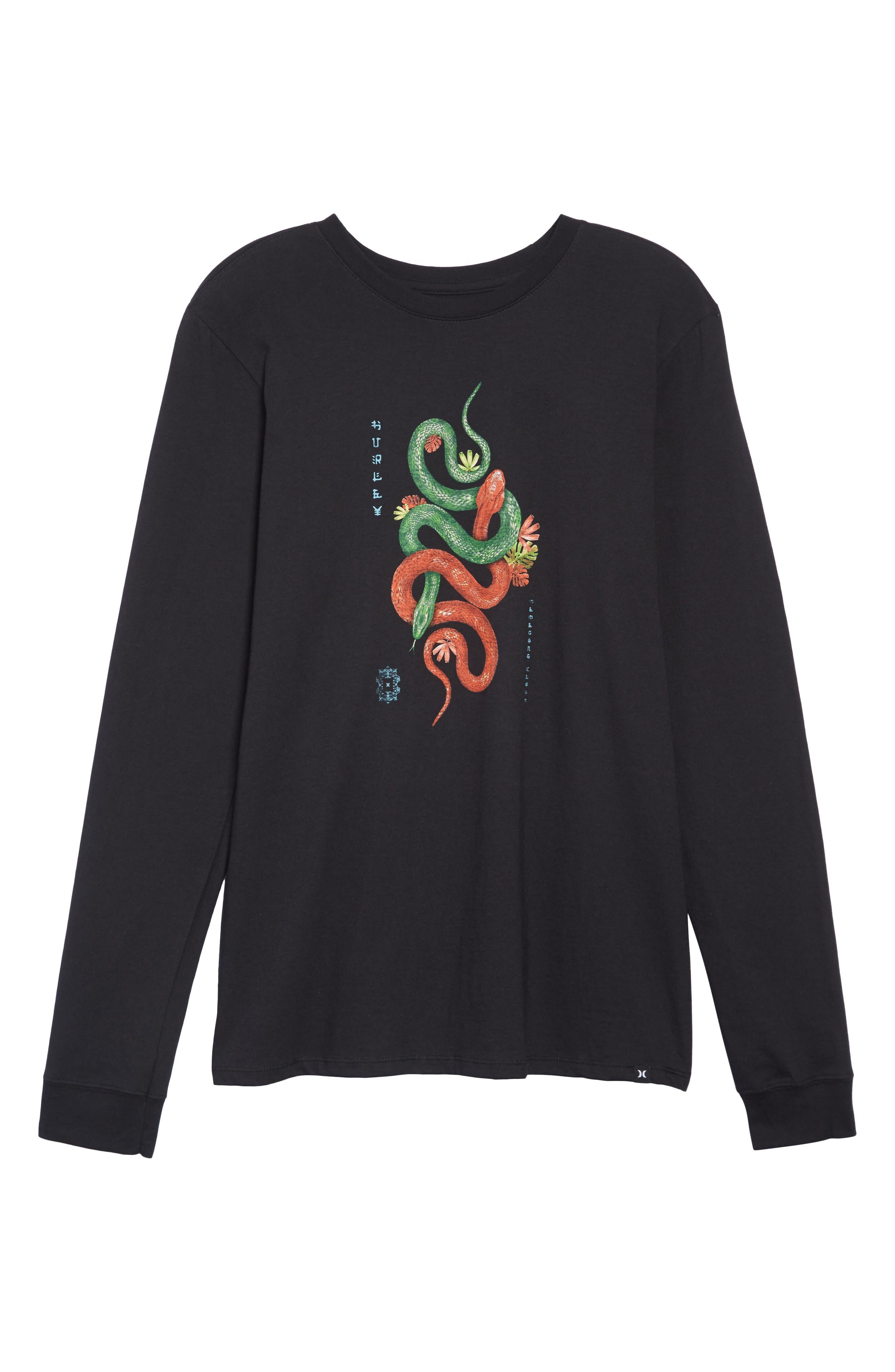 Tread Lightly Long Sleeve T-Shirt,                             Alternate thumbnail 6, color,                             BLACK