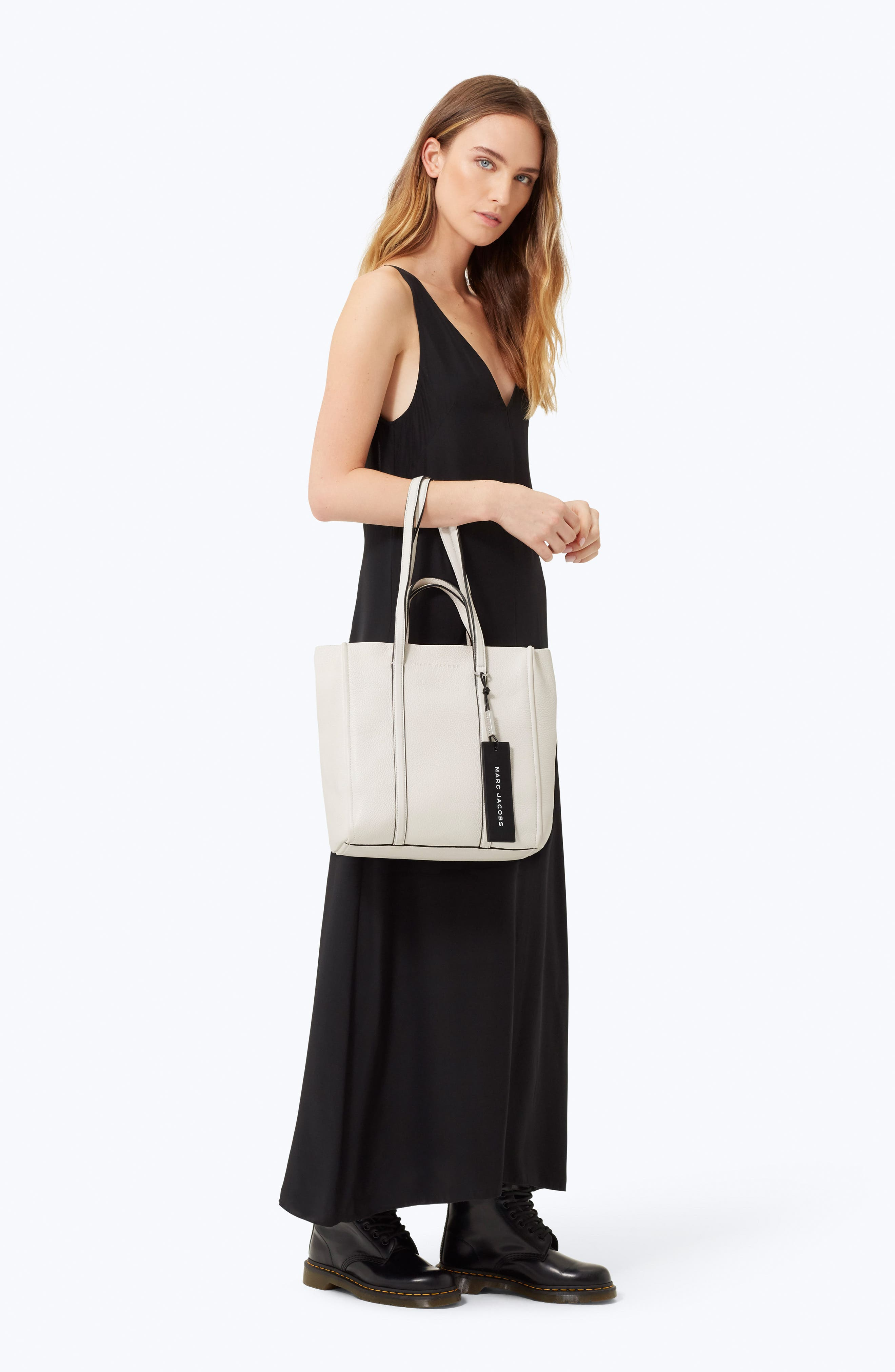 MARC JACOBS,                             The Tag 27 Leather Tote,                             Alternate thumbnail 2, color,                             PORCELAIN