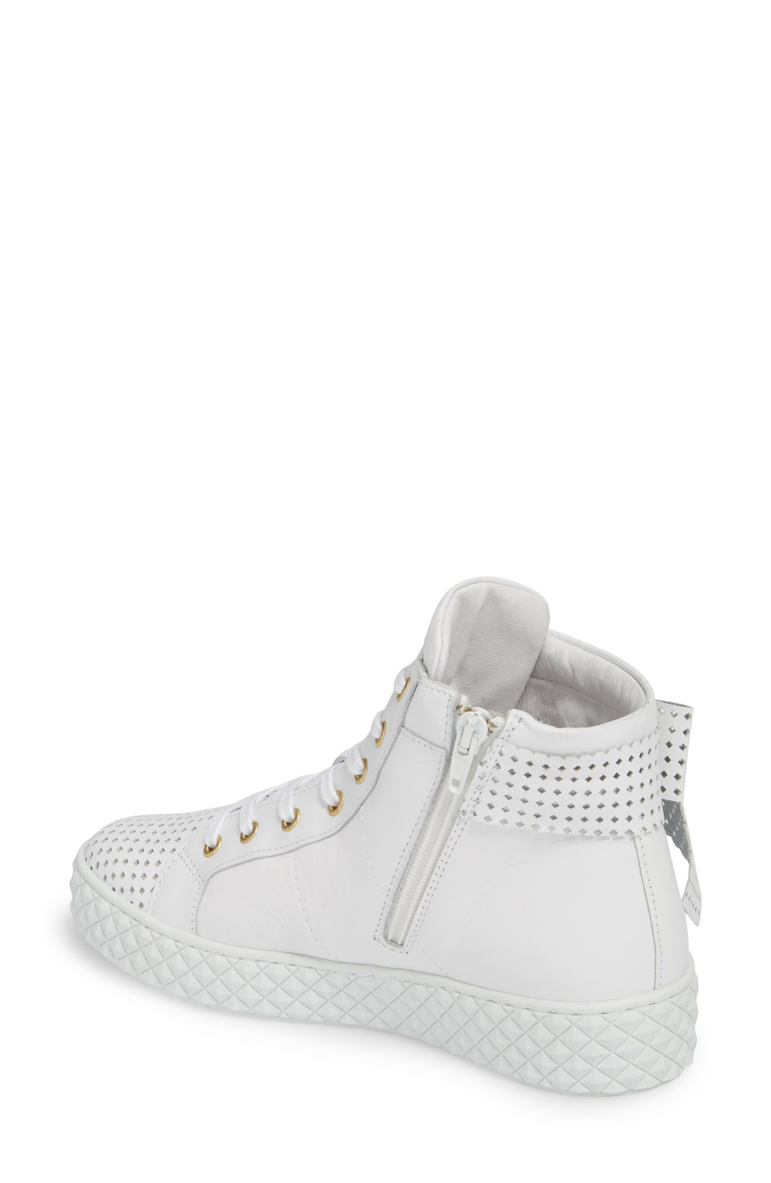 Avery High Top Sneaker,                             Alternate thumbnail 2, color,                             WHITE LEATHER