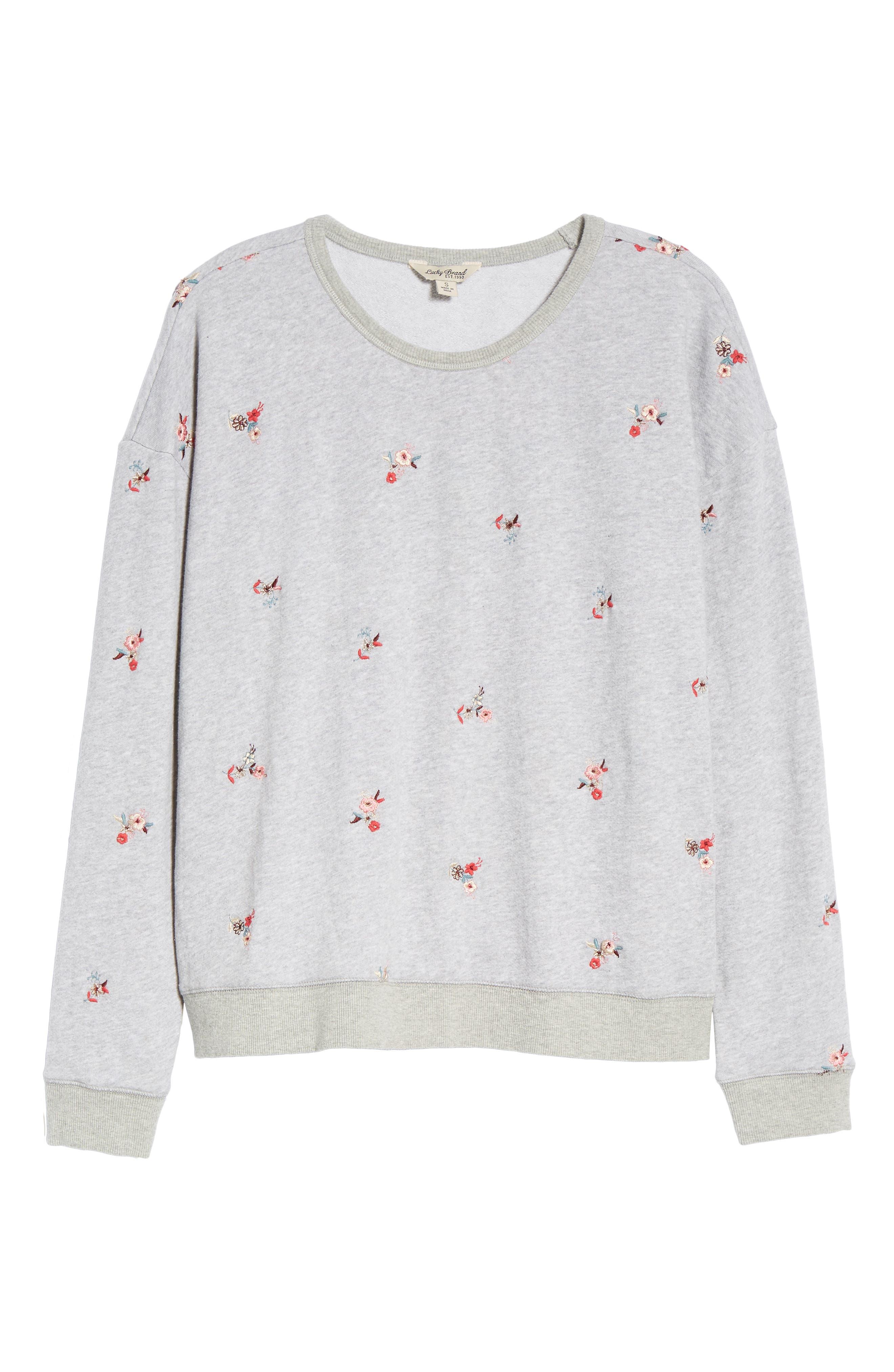 Embroidered Flowers Sweatshirt,                             Alternate thumbnail 6, color,                             030