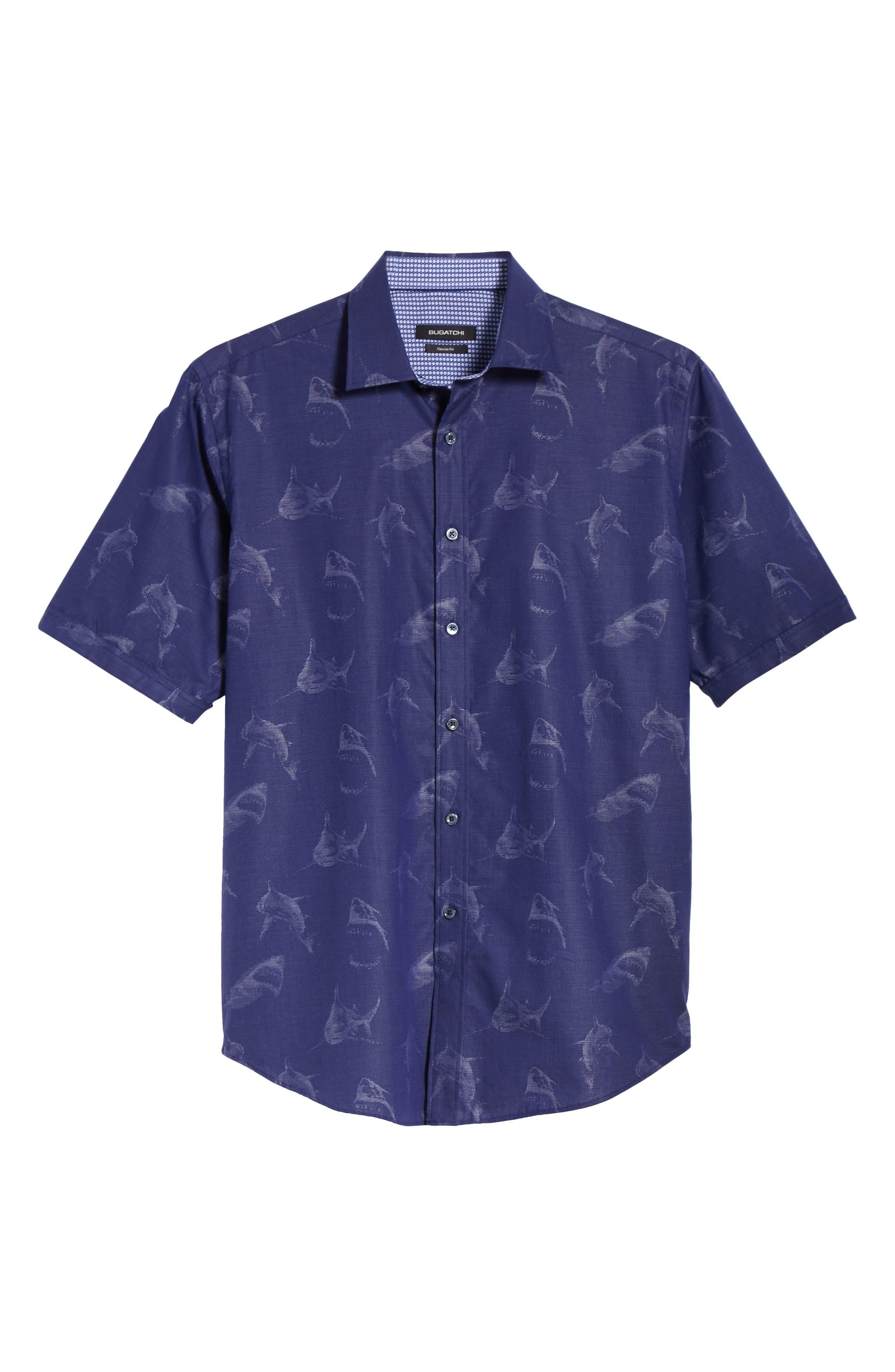 Classic Fit Shark Jacquard Sport Shirt,                             Alternate thumbnail 6, color,                             411