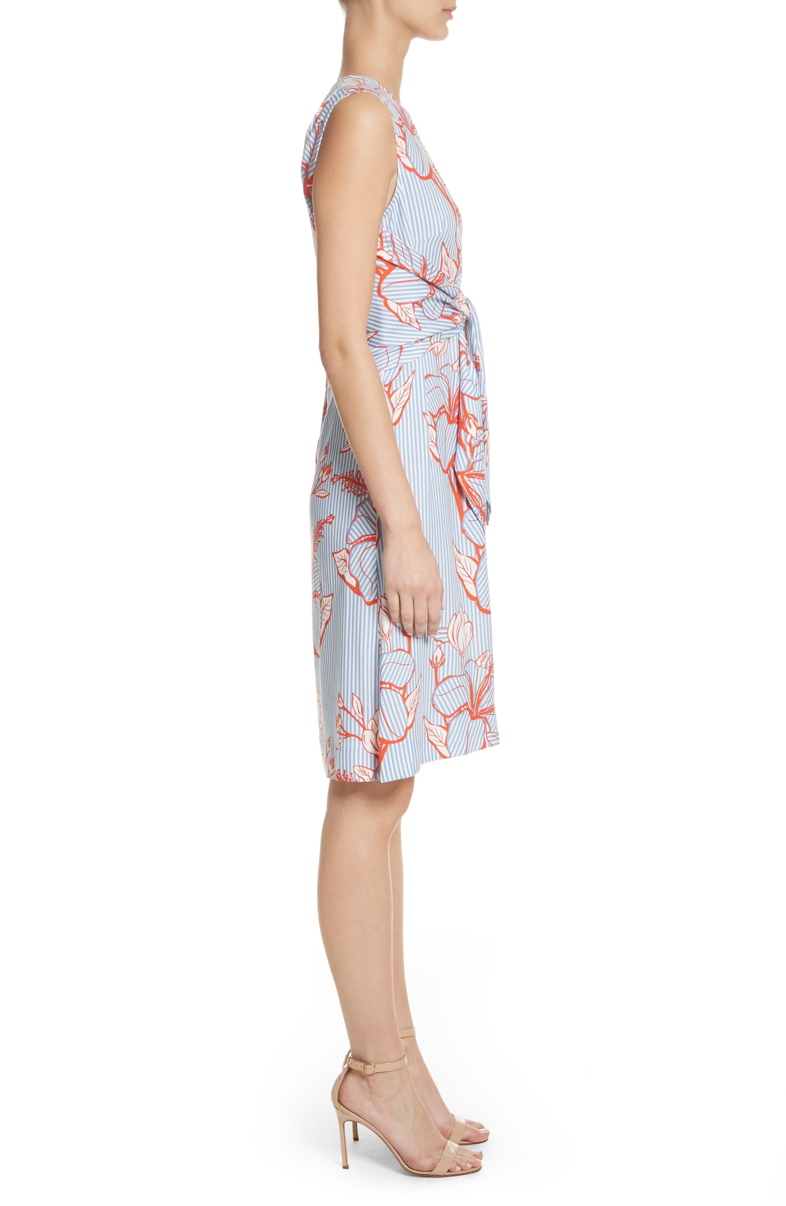 Tie Front Floral Stripe Dress,                             Alternate thumbnail 3, color,