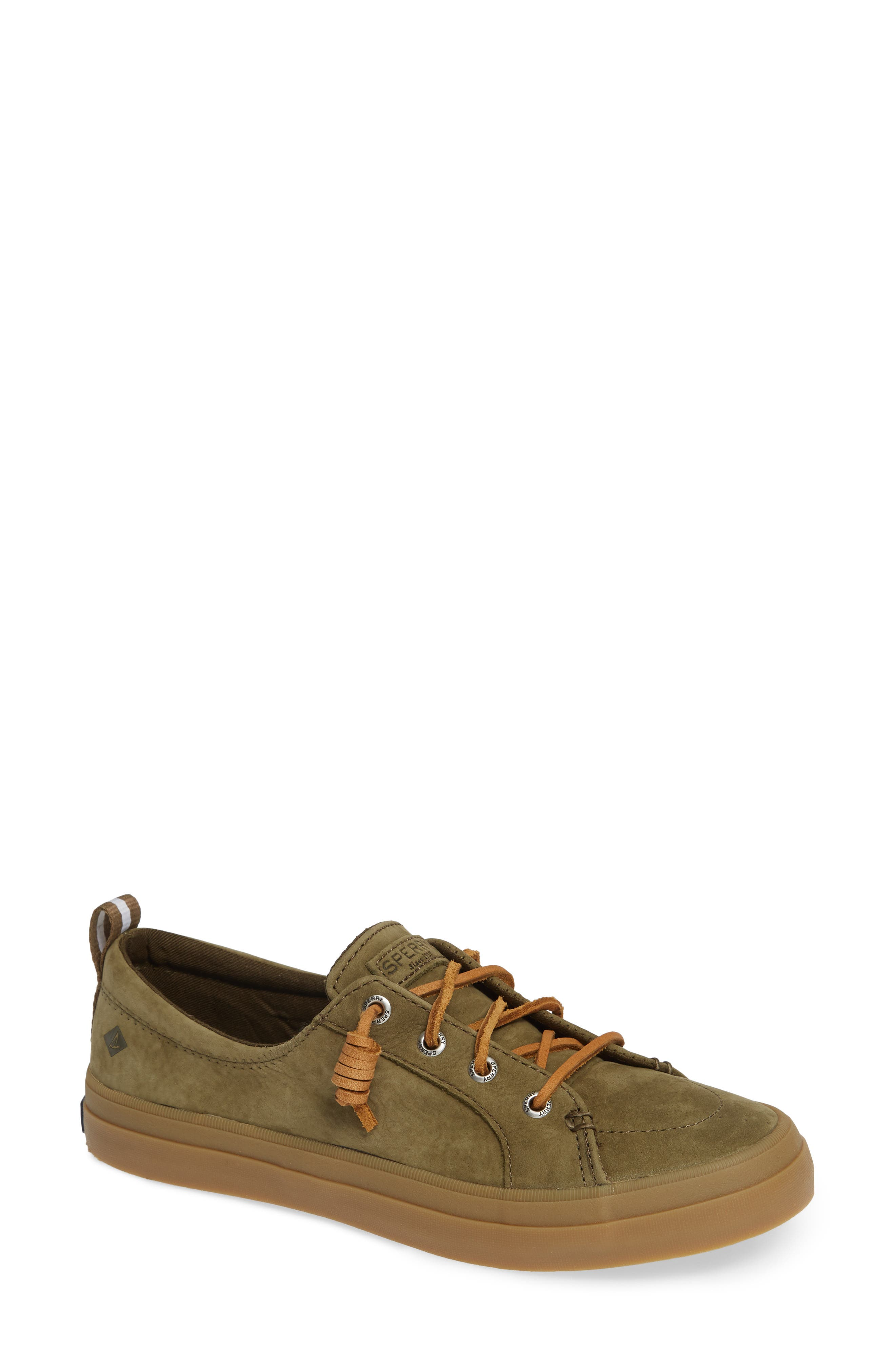 Crest Vibe Sneaker,                         Main,                         color, OLIVE LEATHER