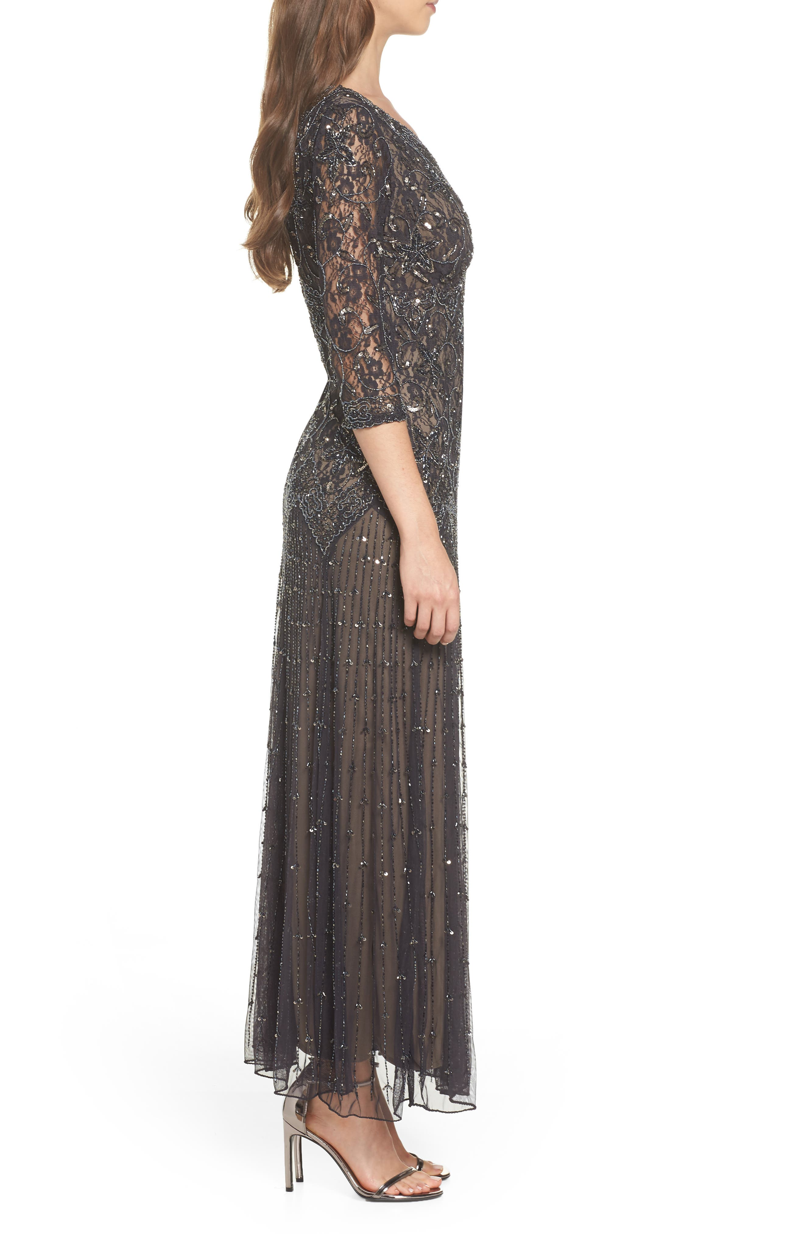 Beaded Mesh Gown,                             Alternate thumbnail 3, color,                             CHARCOAL