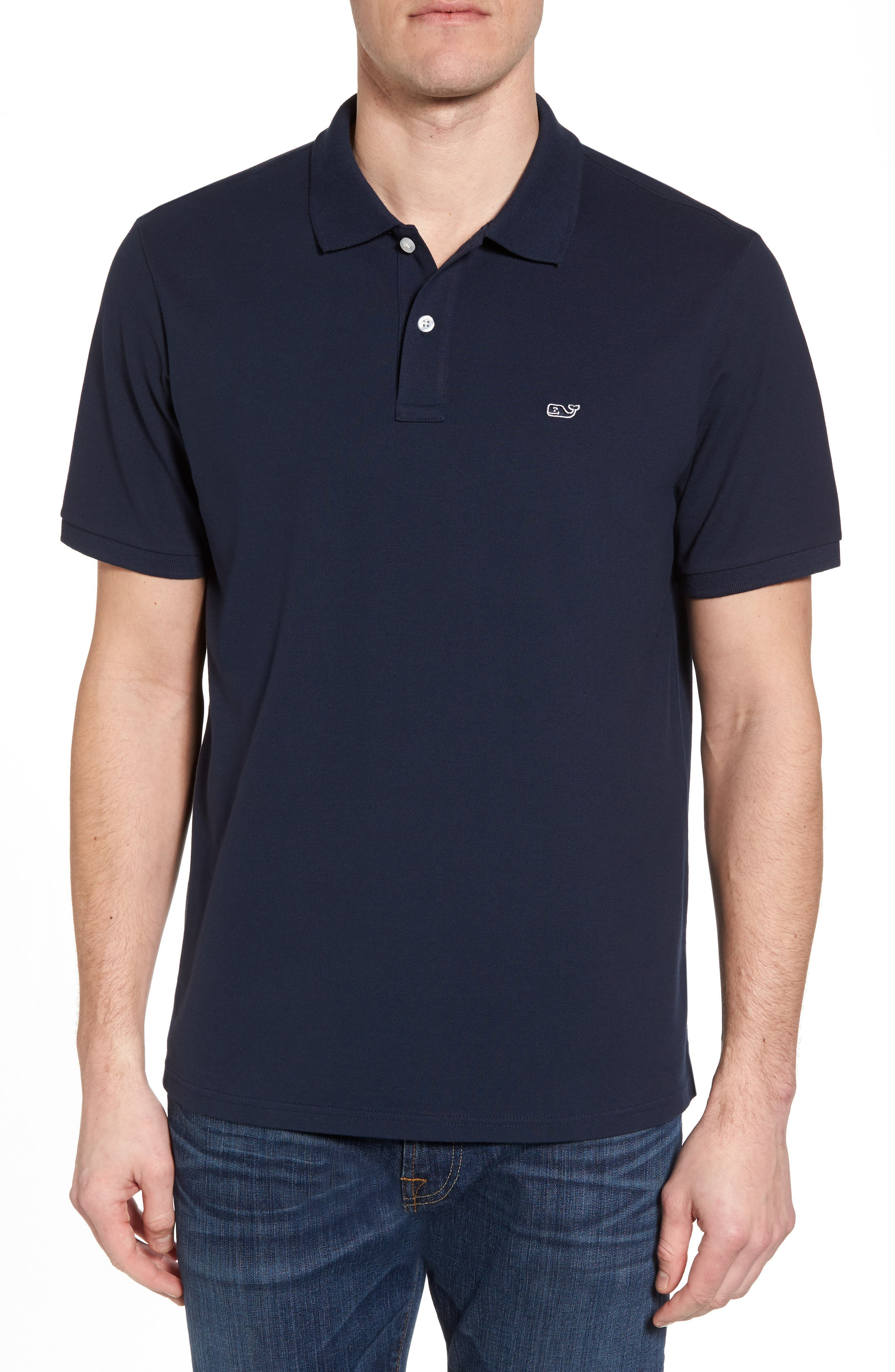 Regular Fit Piqué Polo,                         Main,                         color, NAVY