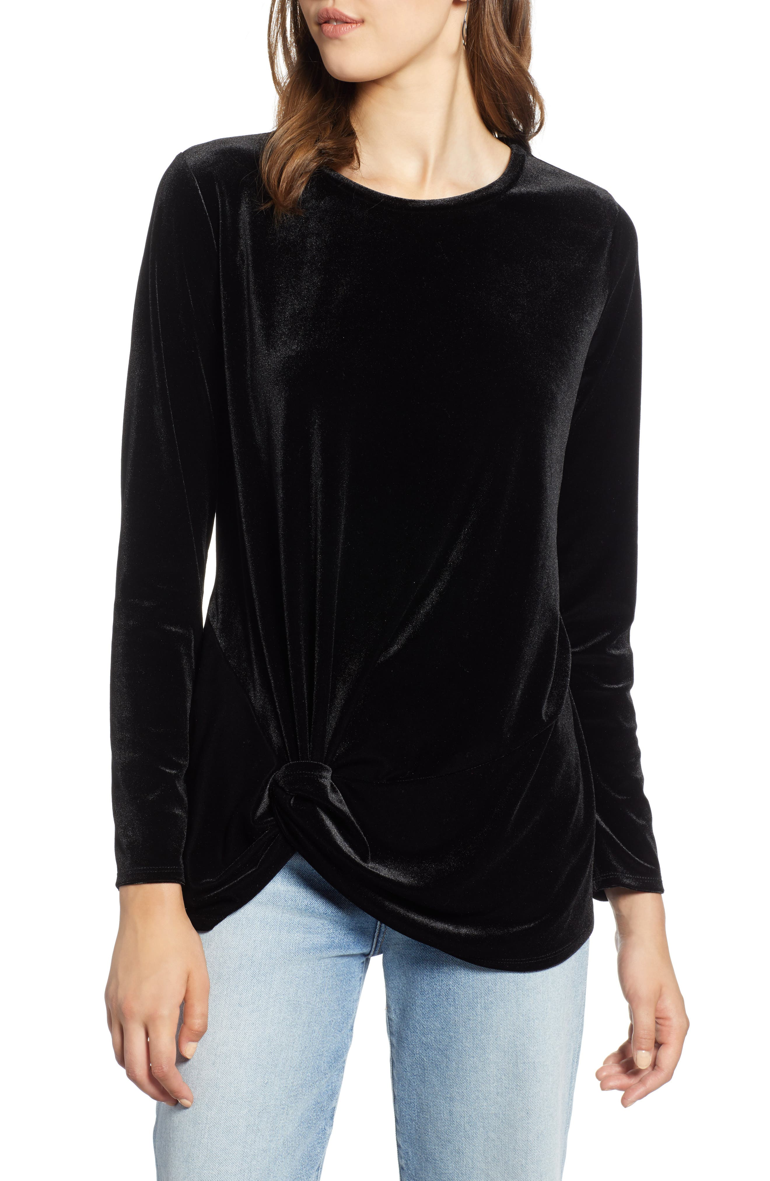 Twist Front Velvet Top,                         Main,                         color, BLACK