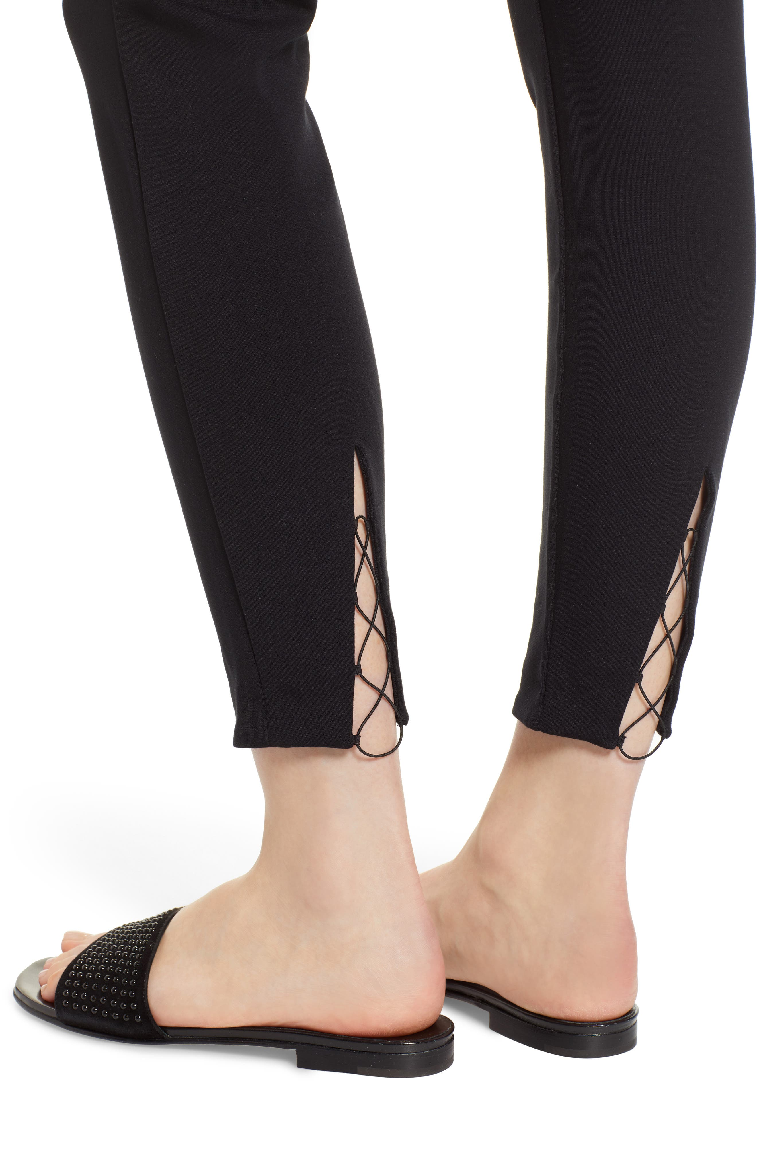 Grace Laced Detail Leggings,                             Alternate thumbnail 4, color,                             BLACK/ BLACK