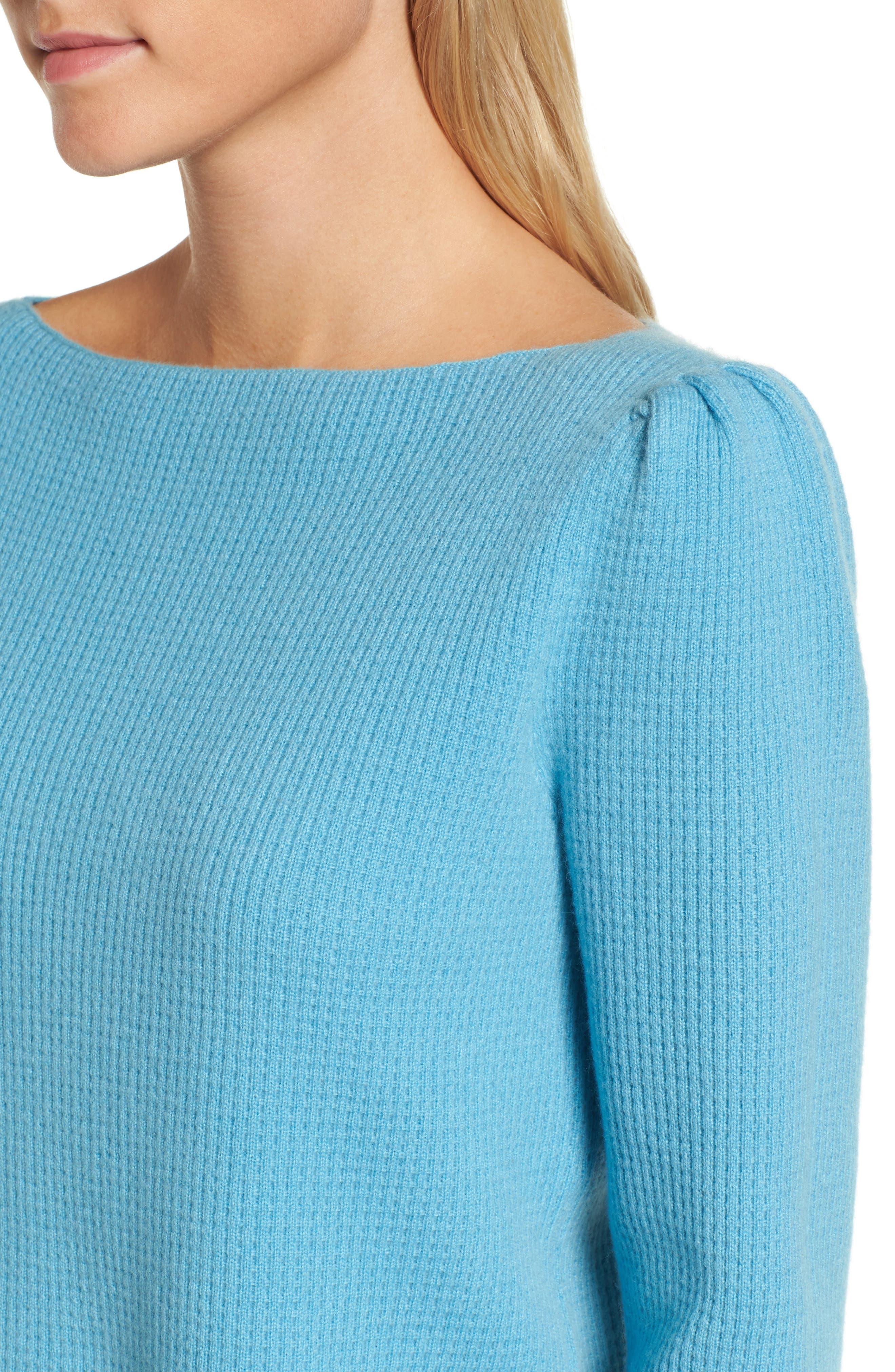 Waffle Stitch Cashmere Sweater,                             Alternate thumbnail 7, color,