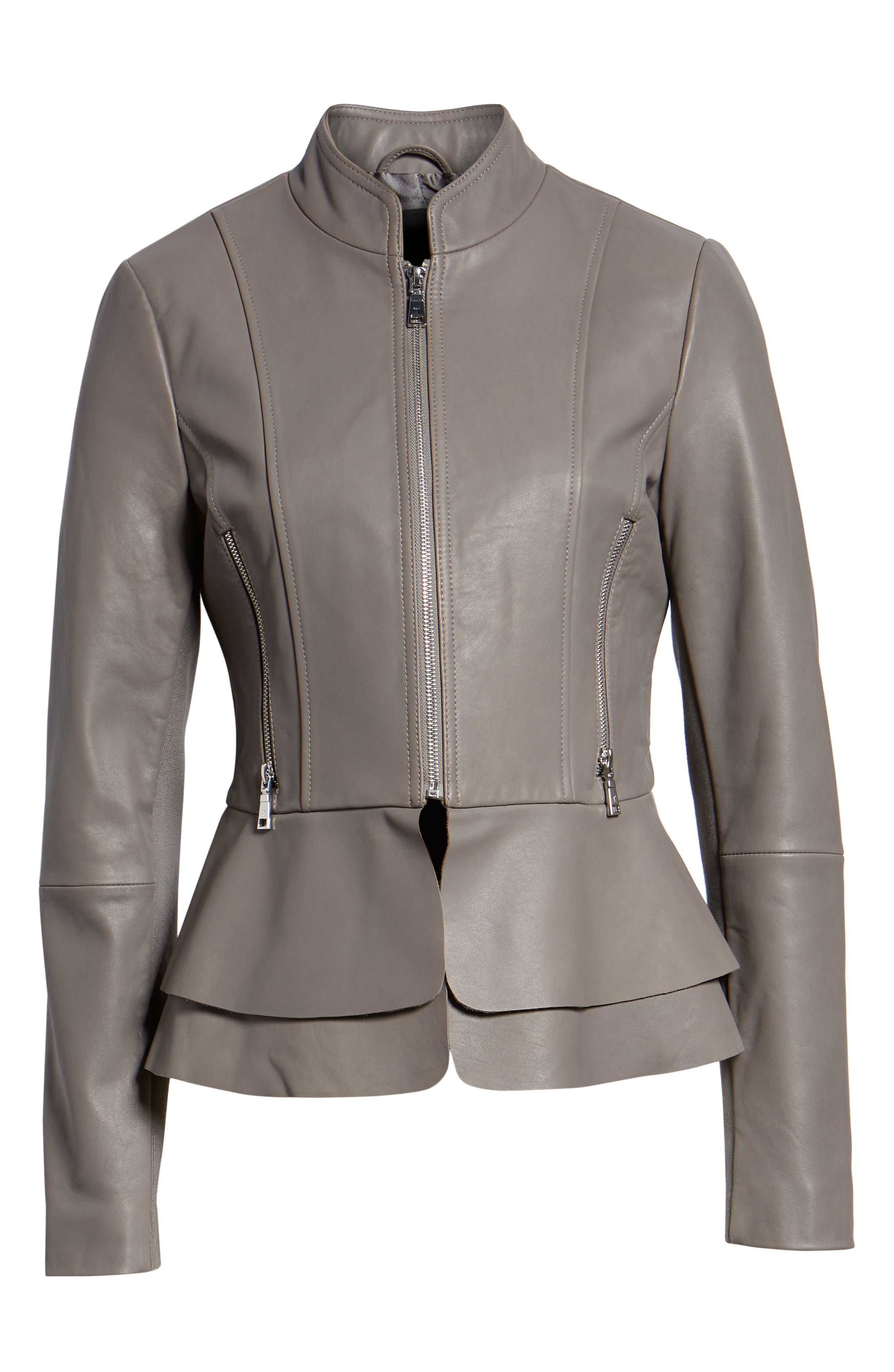 Thea Peplum Hem Leather Jacket,                             Alternate thumbnail 6, color,                             020