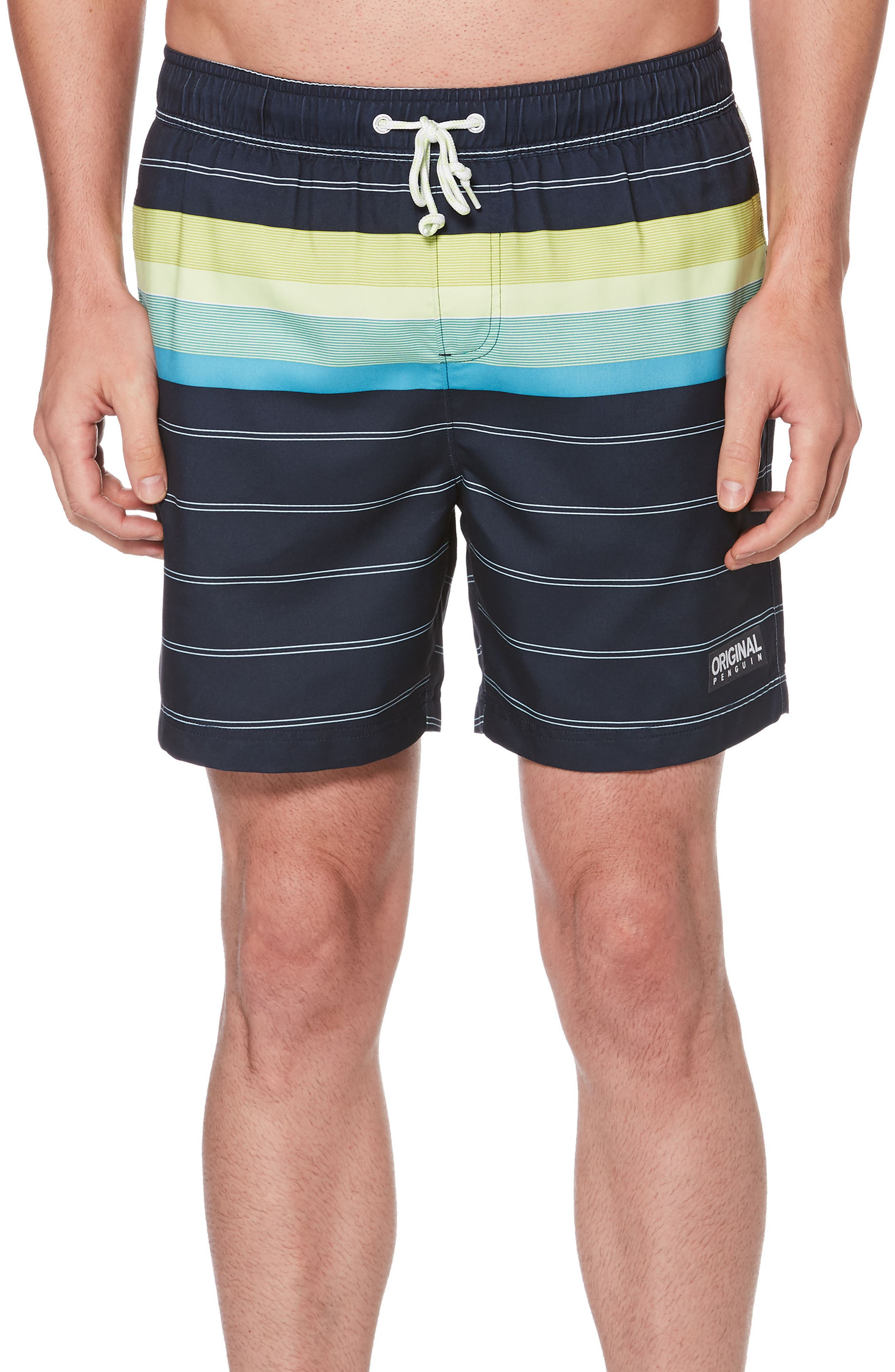 Engineered Stripe Swim Trunks,                         Main,                         color, DARK SAPPHIRE