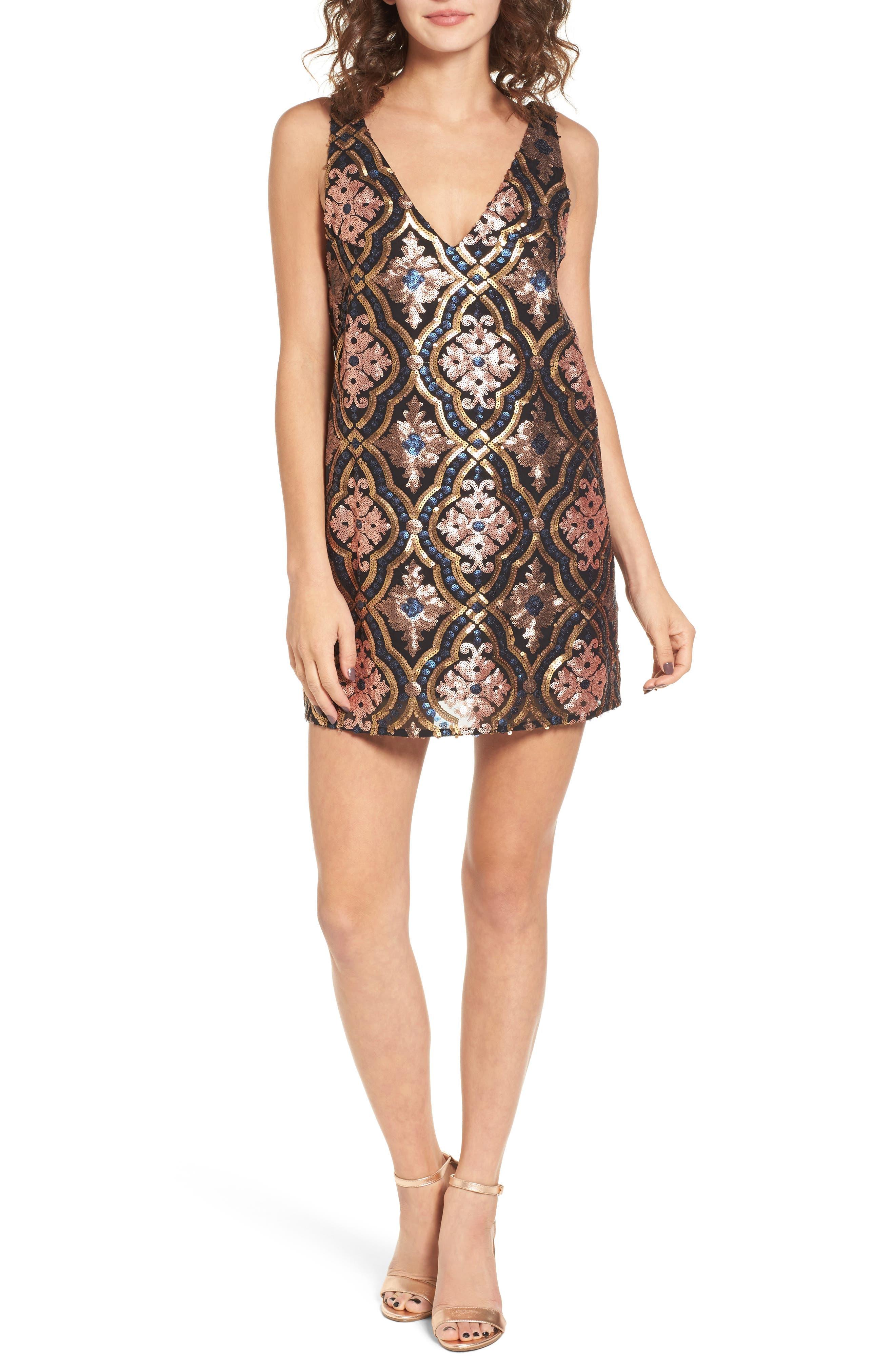 Double Dipper Sequin Dress,                             Main thumbnail 1, color,                             001