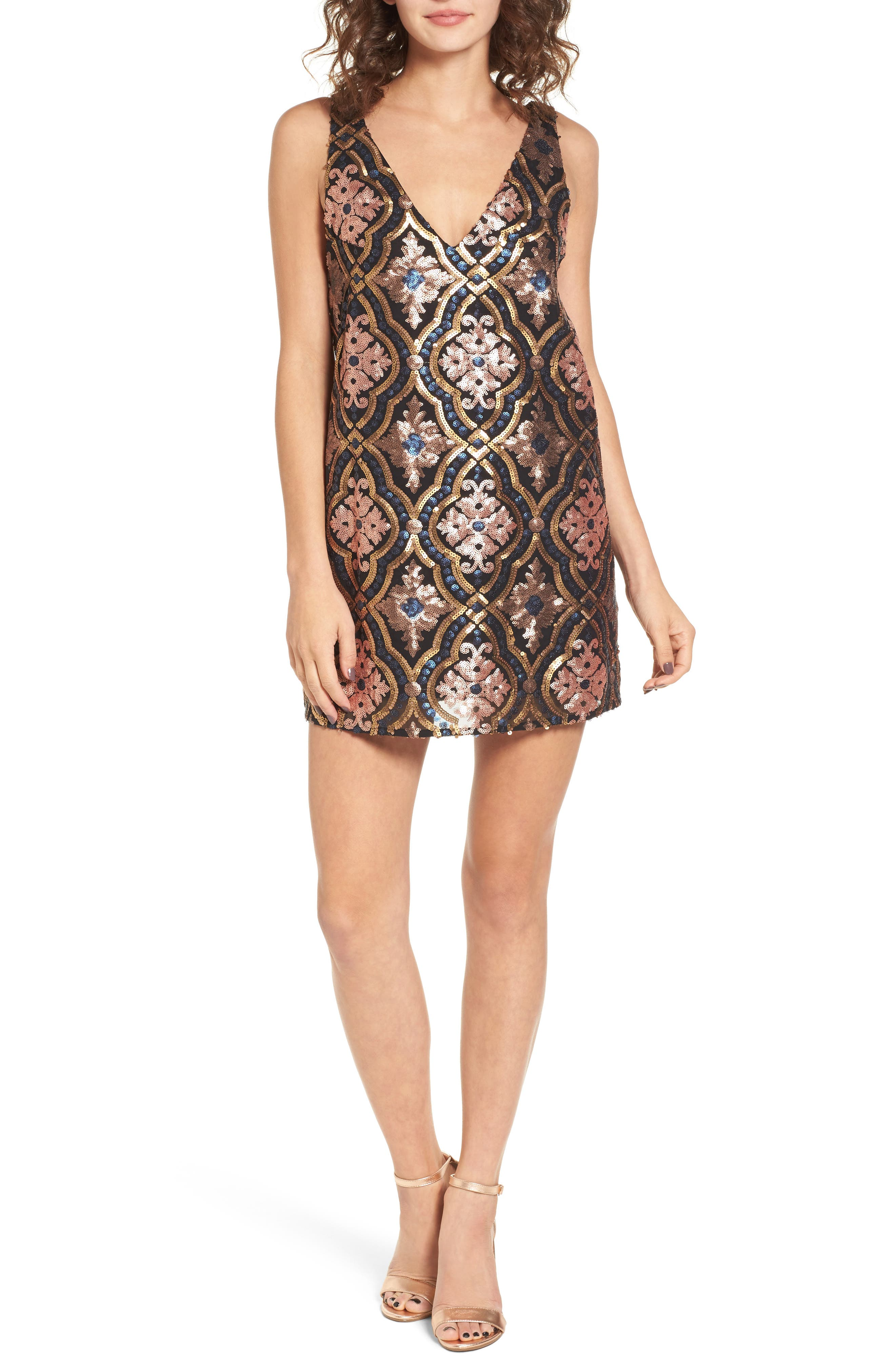 Double Dipper Sequin Dress,                         Main,                         color, 001