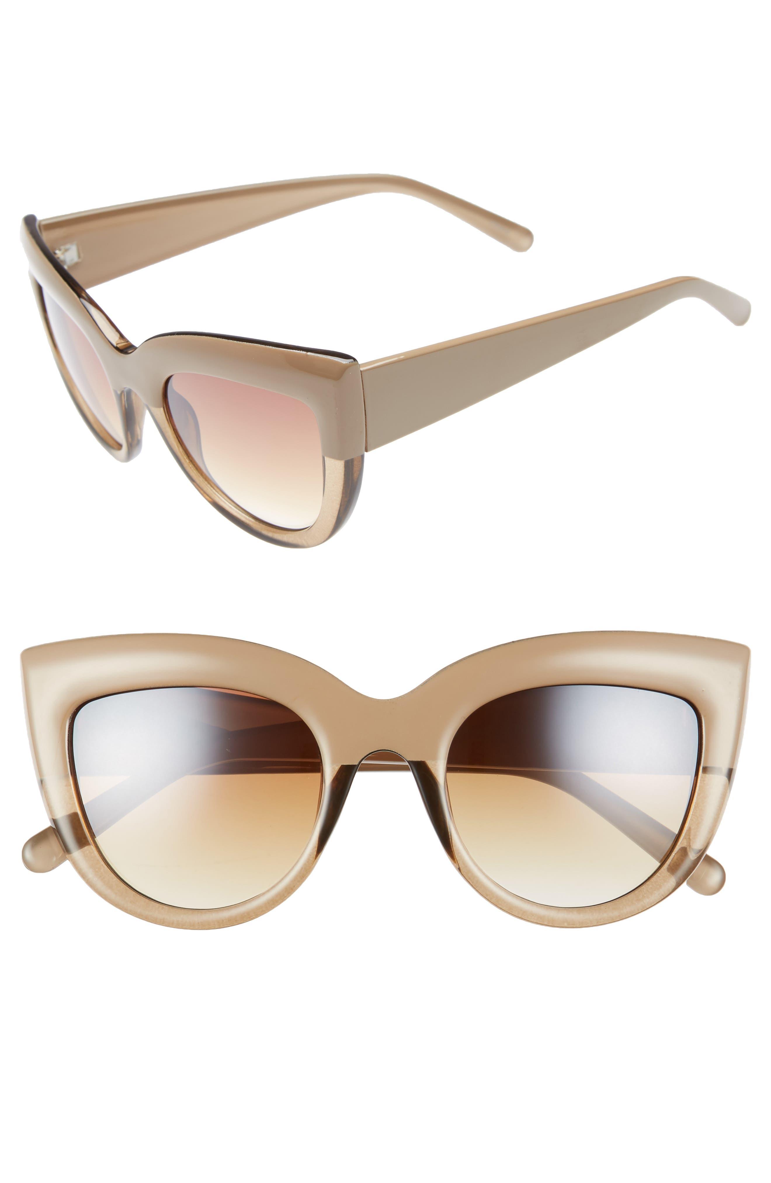 60mm Two-Tone Cat Eye Sunglasses,                             Main thumbnail 1, color,