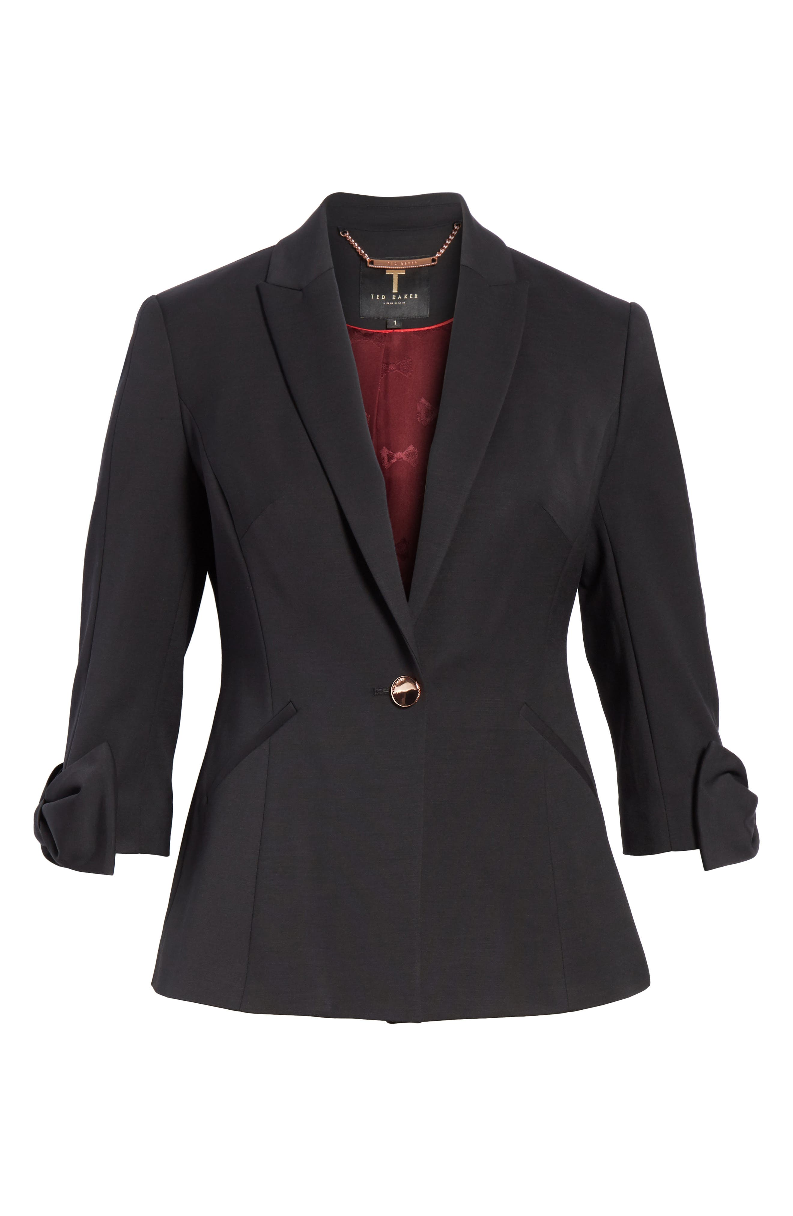 Toply Bow Cuff Jacket,                             Alternate thumbnail 5, color,                             BLACK