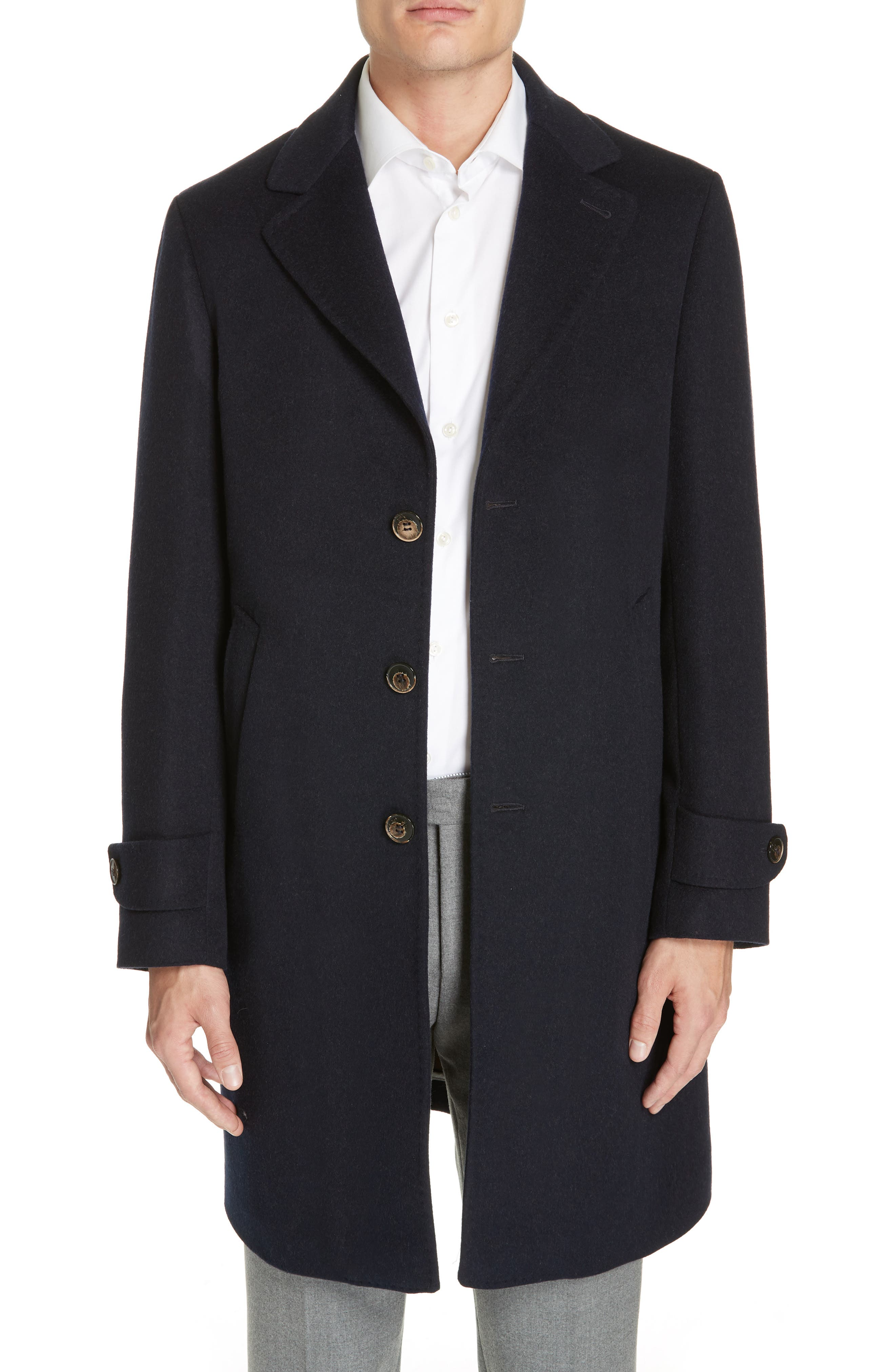 Trim Fit Wool & Cashmere Car Coat,                             Main thumbnail 1, color,                             NAVY