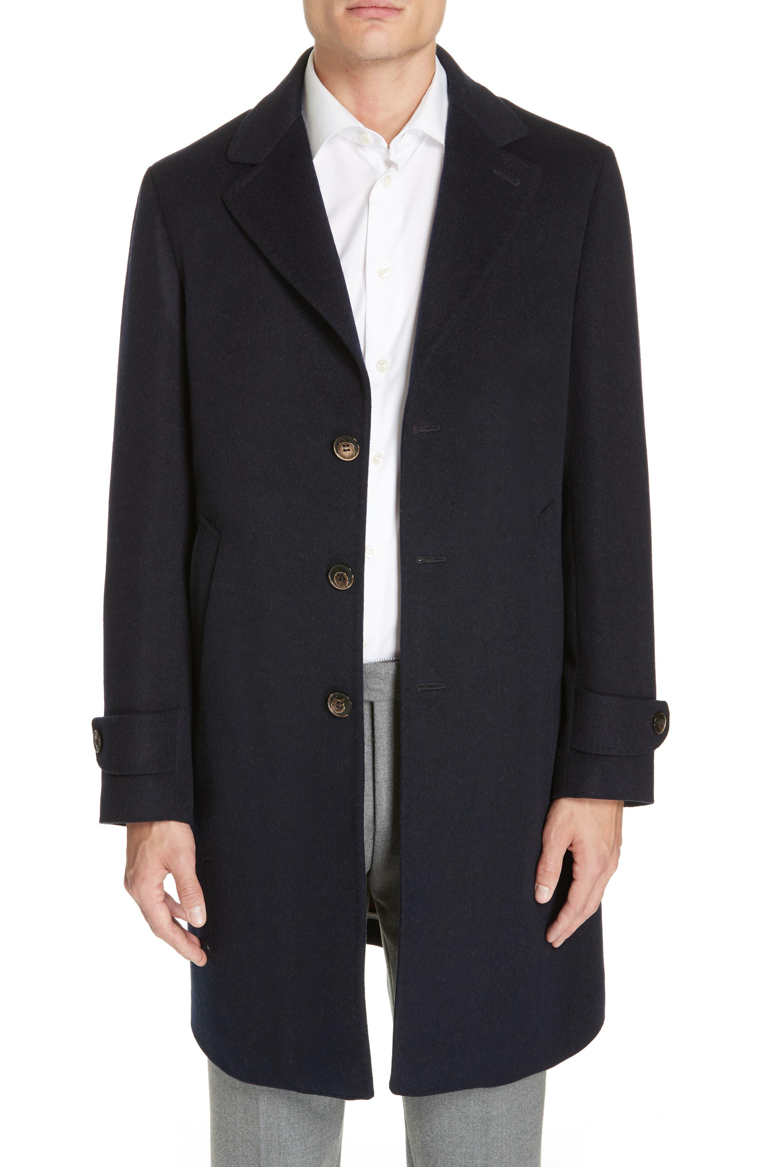 Trim Fit Wool & Cashmere Car Coat,                         Main,                         color, NAVY