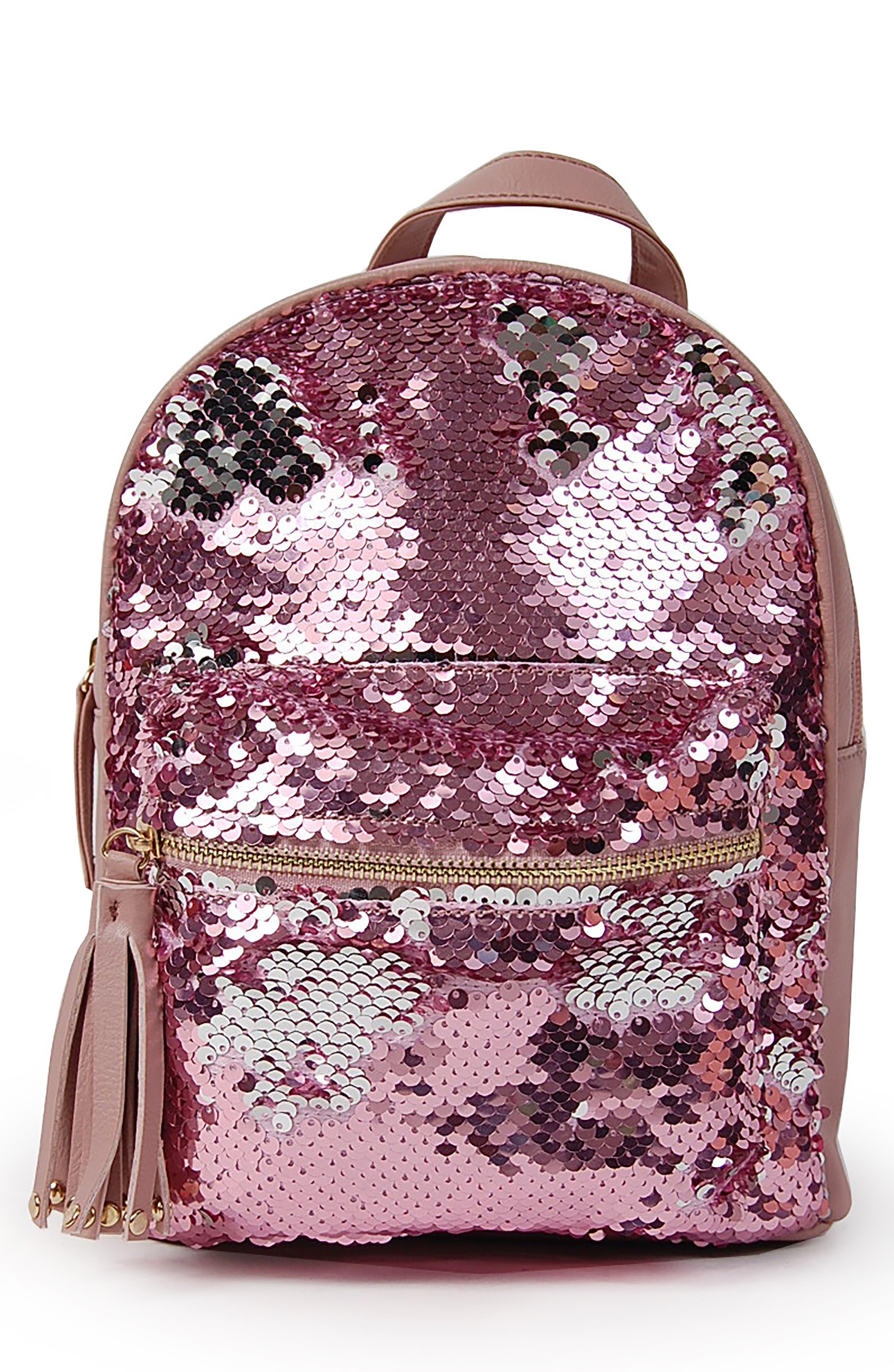 Mini Flip Sequin Backpack,                             Main thumbnail 1, color,                             BLUSH
