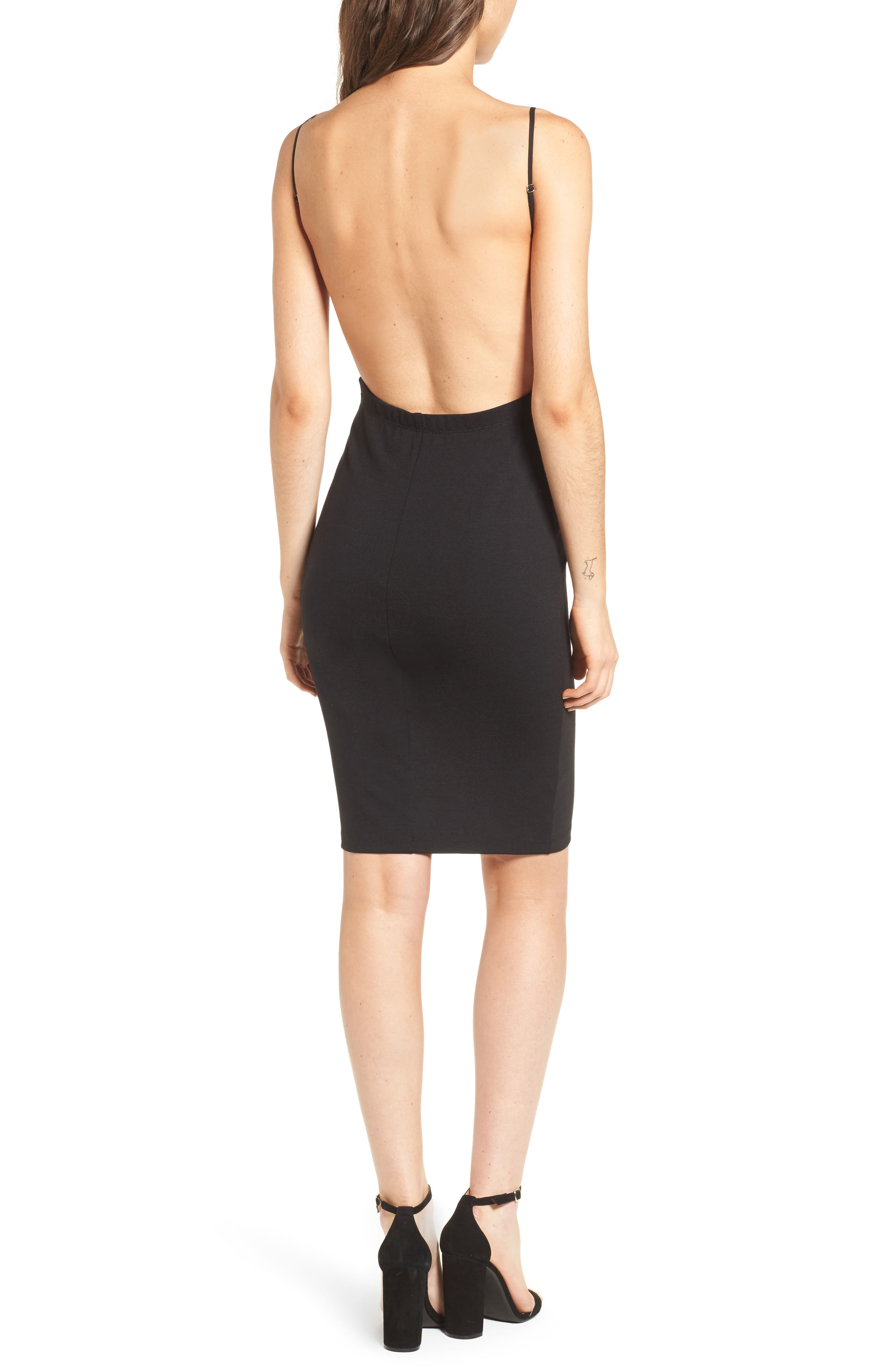 Open Back Body-Con Dress,                             Alternate thumbnail 2, color,                             001