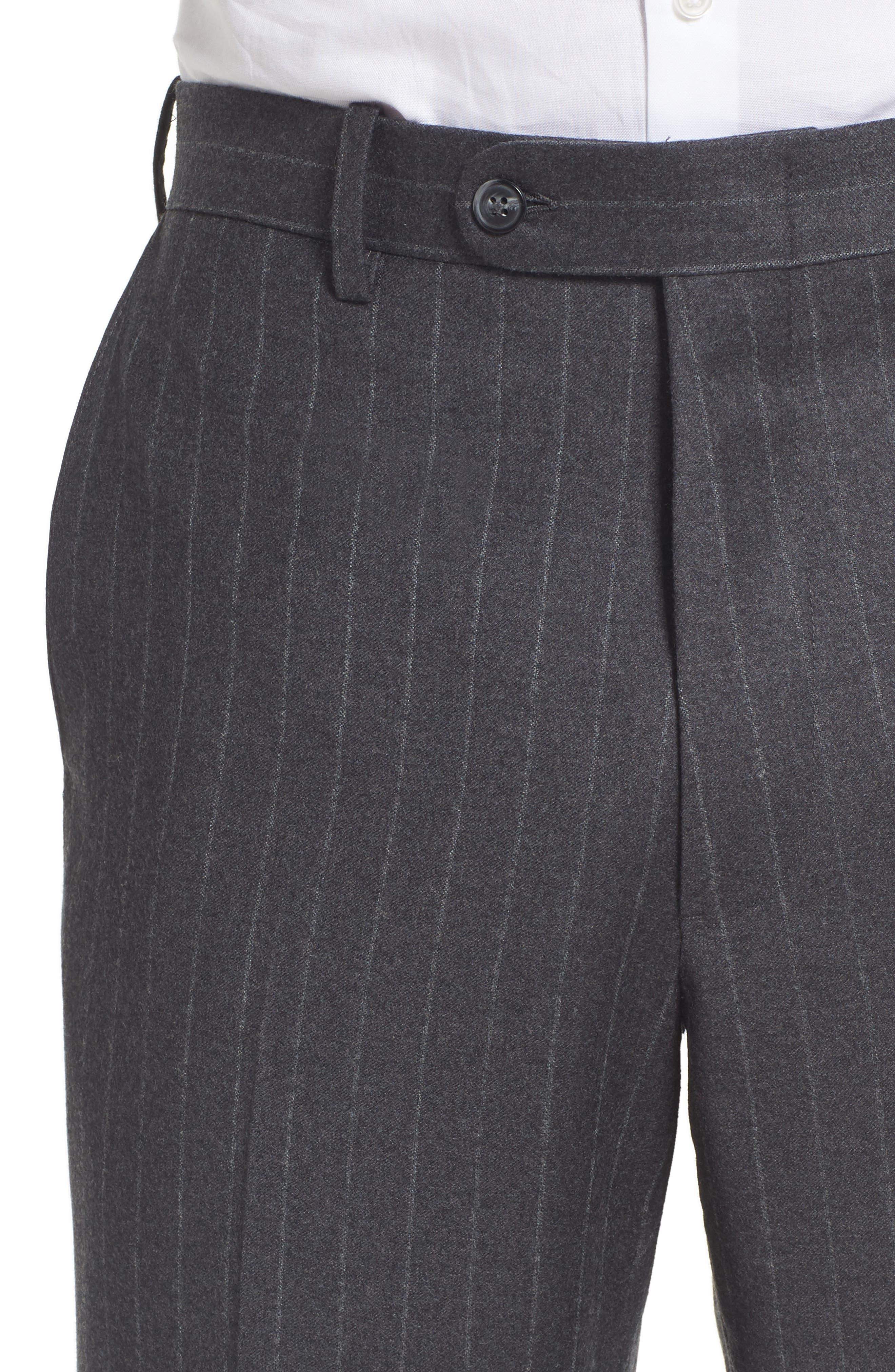Flat Front Chalk Stripe Wool Trousers,                             Alternate thumbnail 5, color,                             030