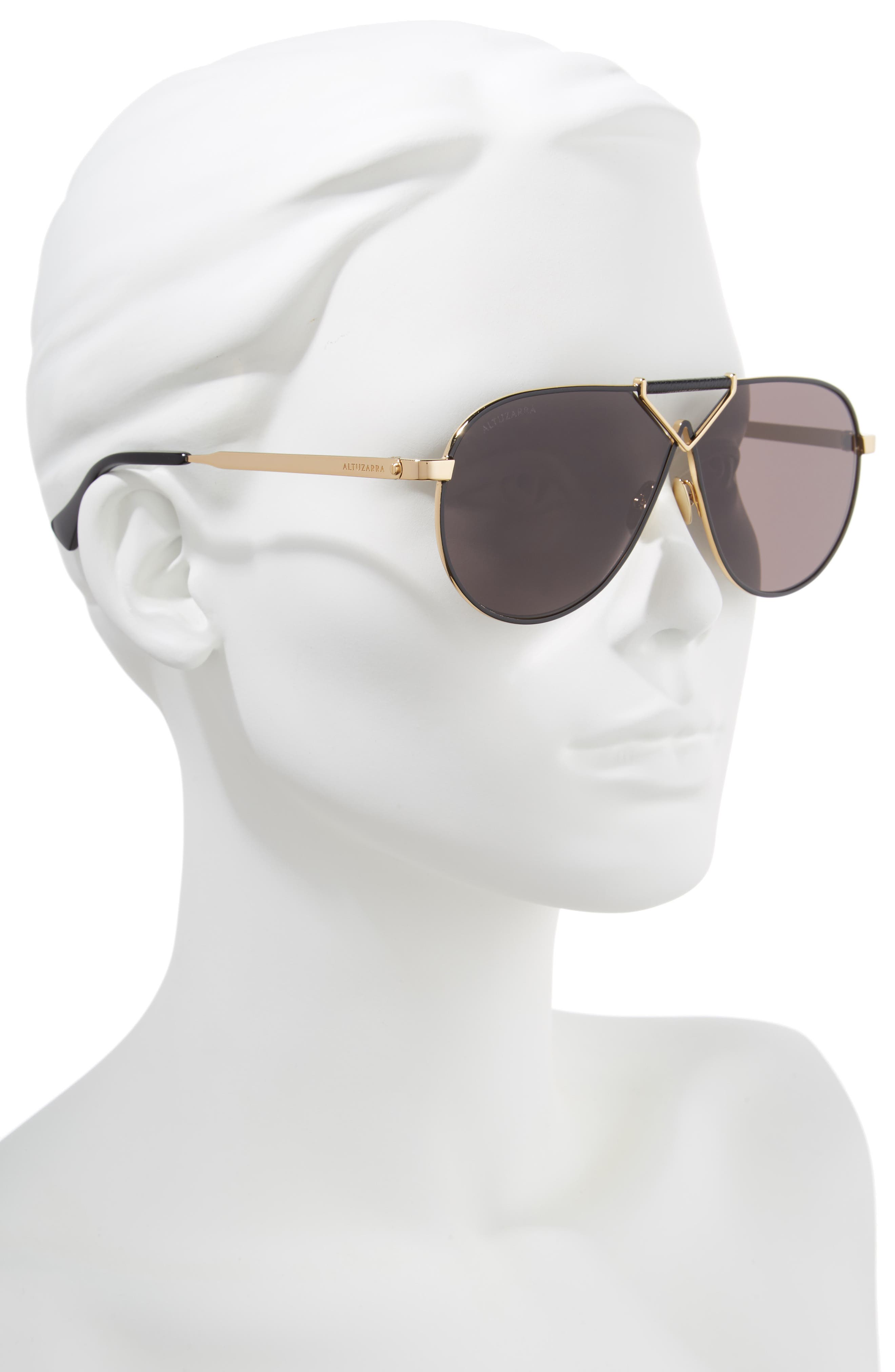 ALTUZARRA,                             64mm Aviator Sunglasses,                             Alternate thumbnail 2, color,                             BLACK/ GOLD