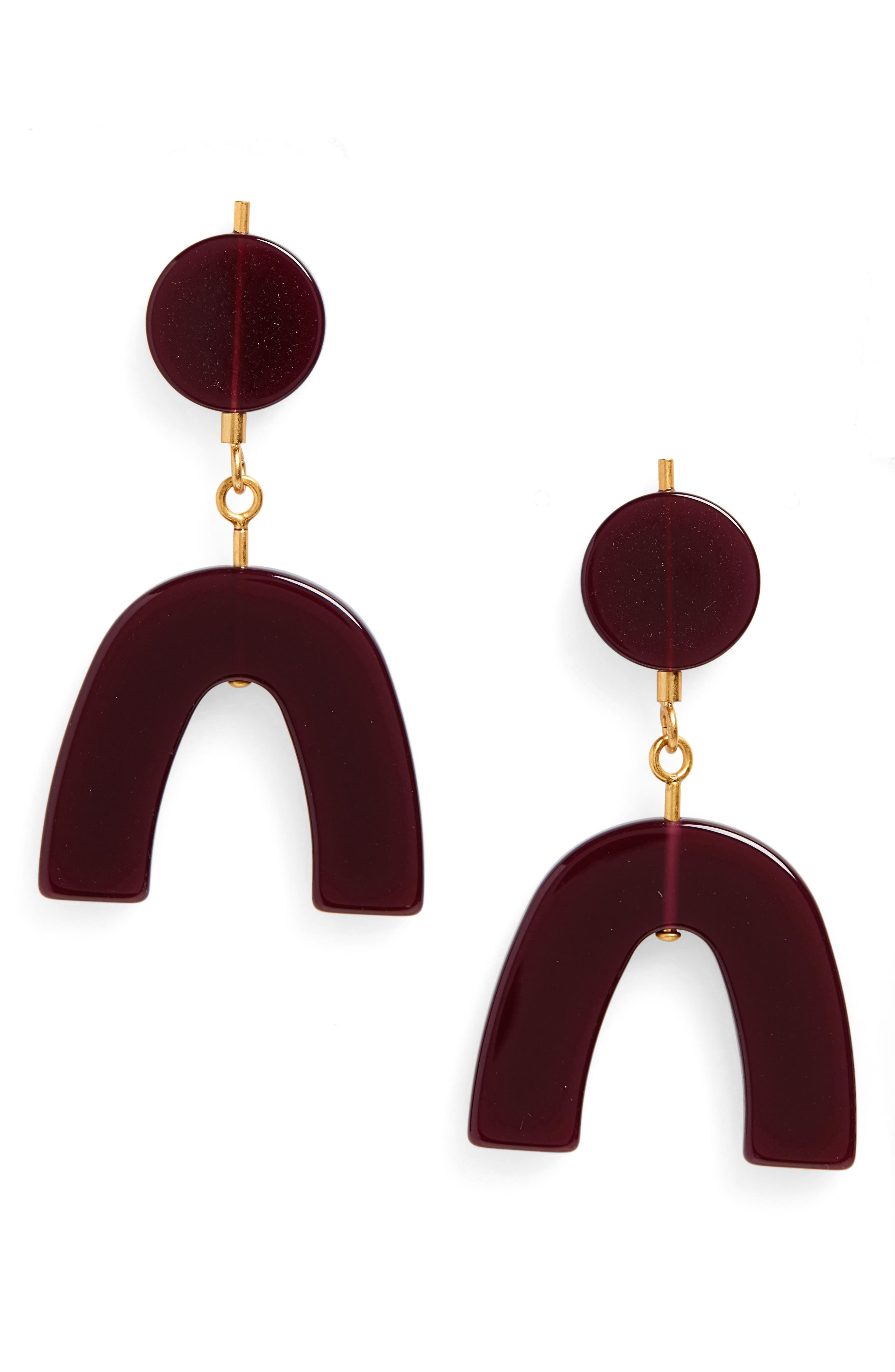 Shapes Statement Earrings,                             Main thumbnail 1, color,                             PINOT NOIR