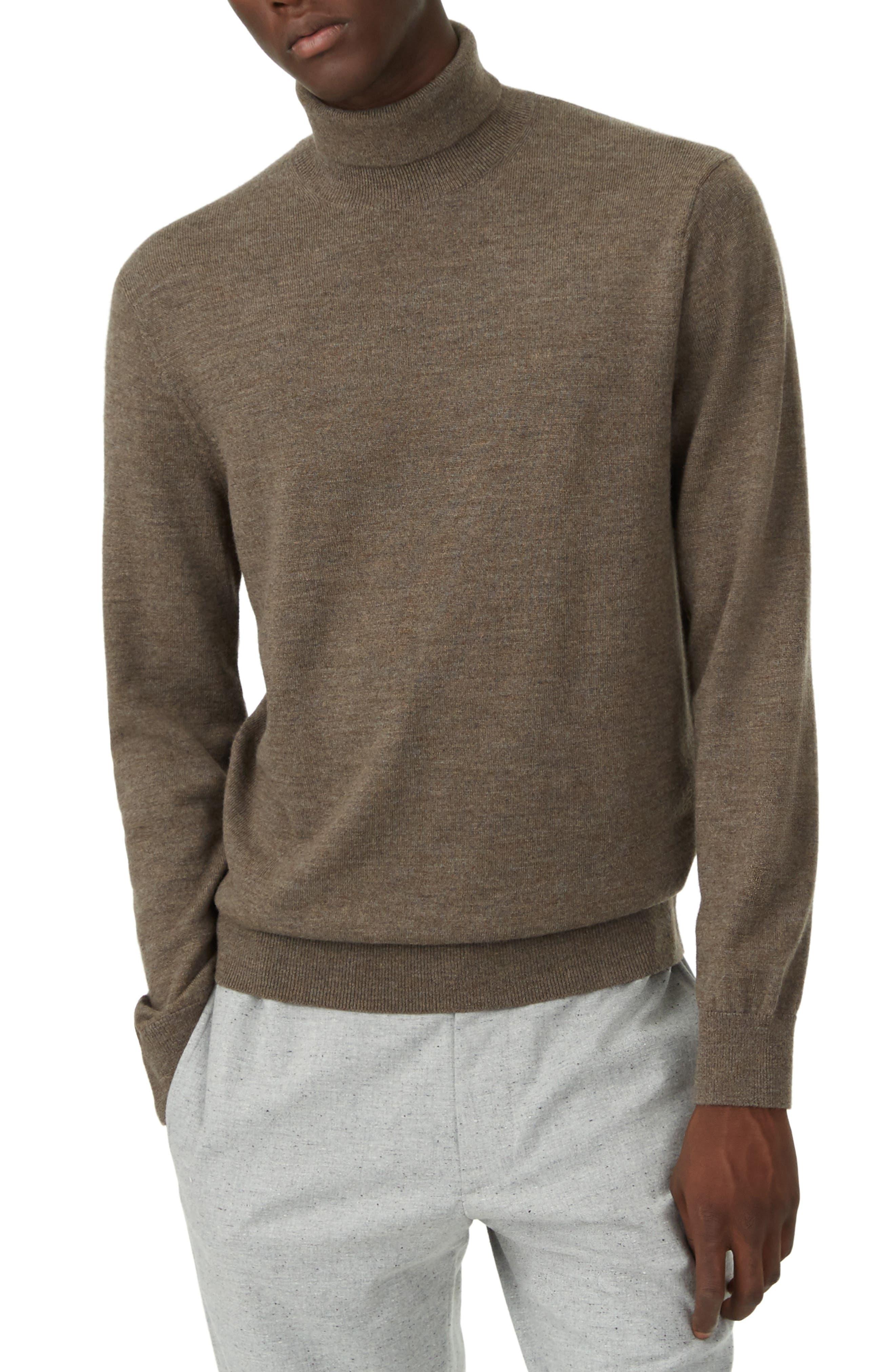 Club Monaco Trim Fit Merino Wool Turtleneck Sweater, Brown