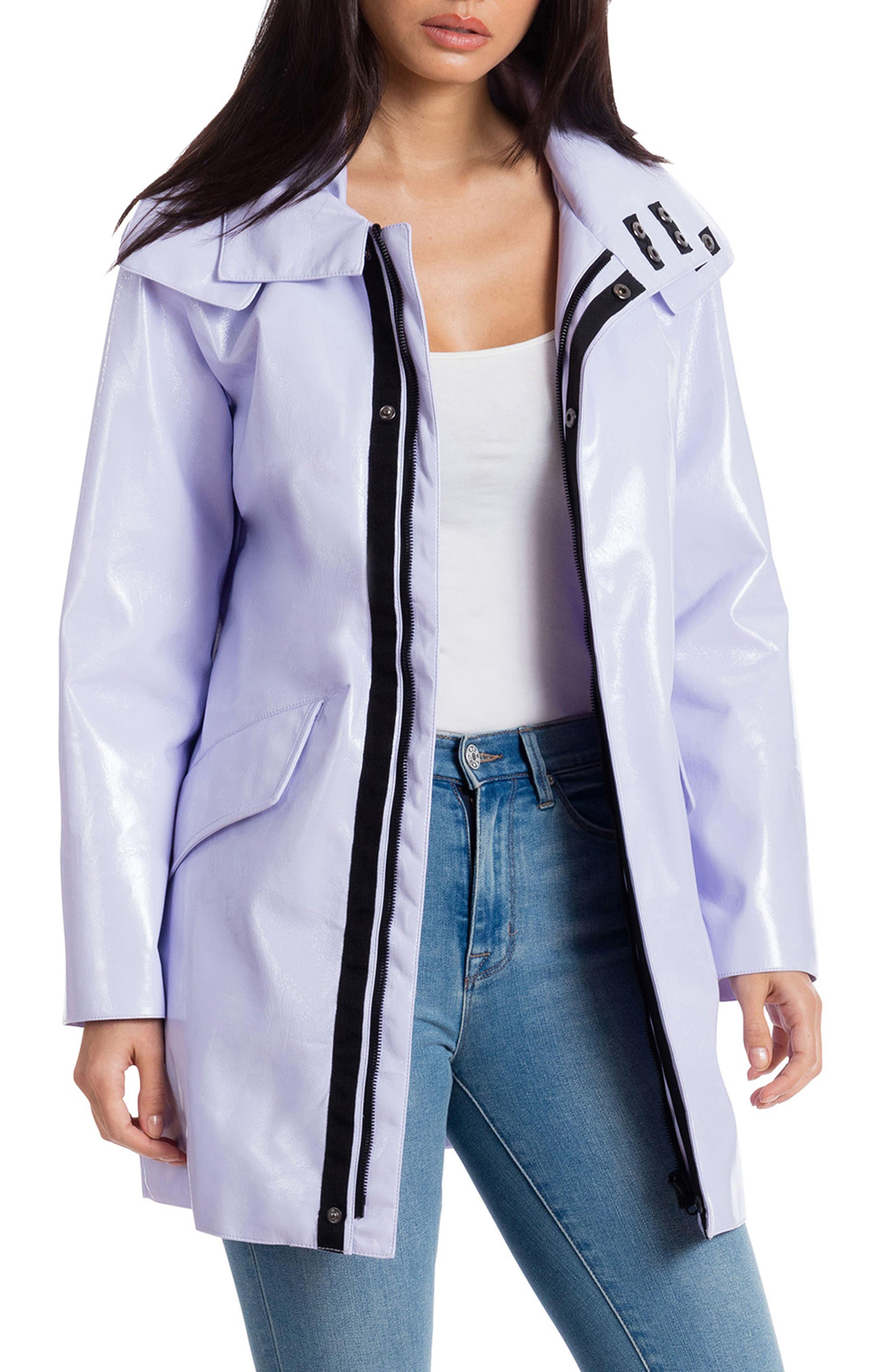 Faux Patent Leather Raincoat, Main, color, LAVENDER