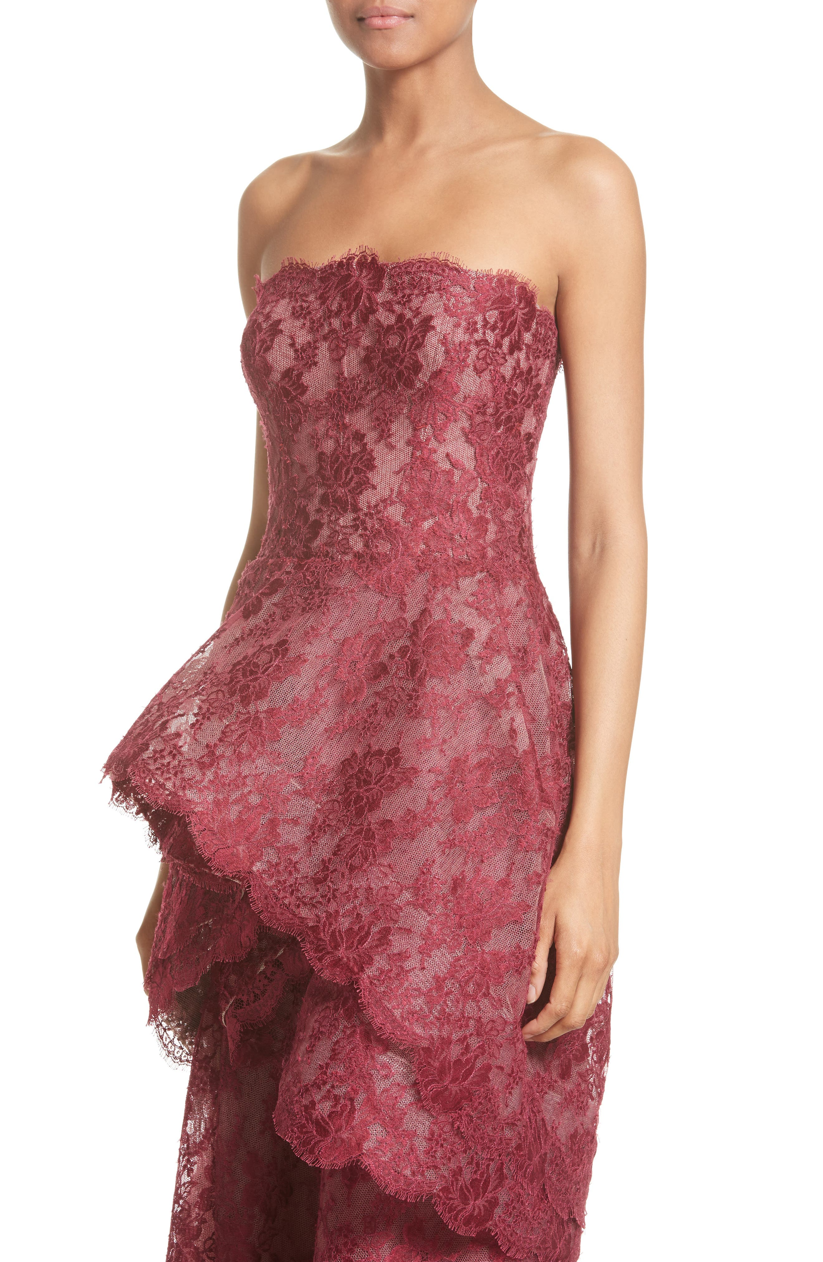 Tiered Strapless Lace Gown,                             Alternate thumbnail 4, color,                             600