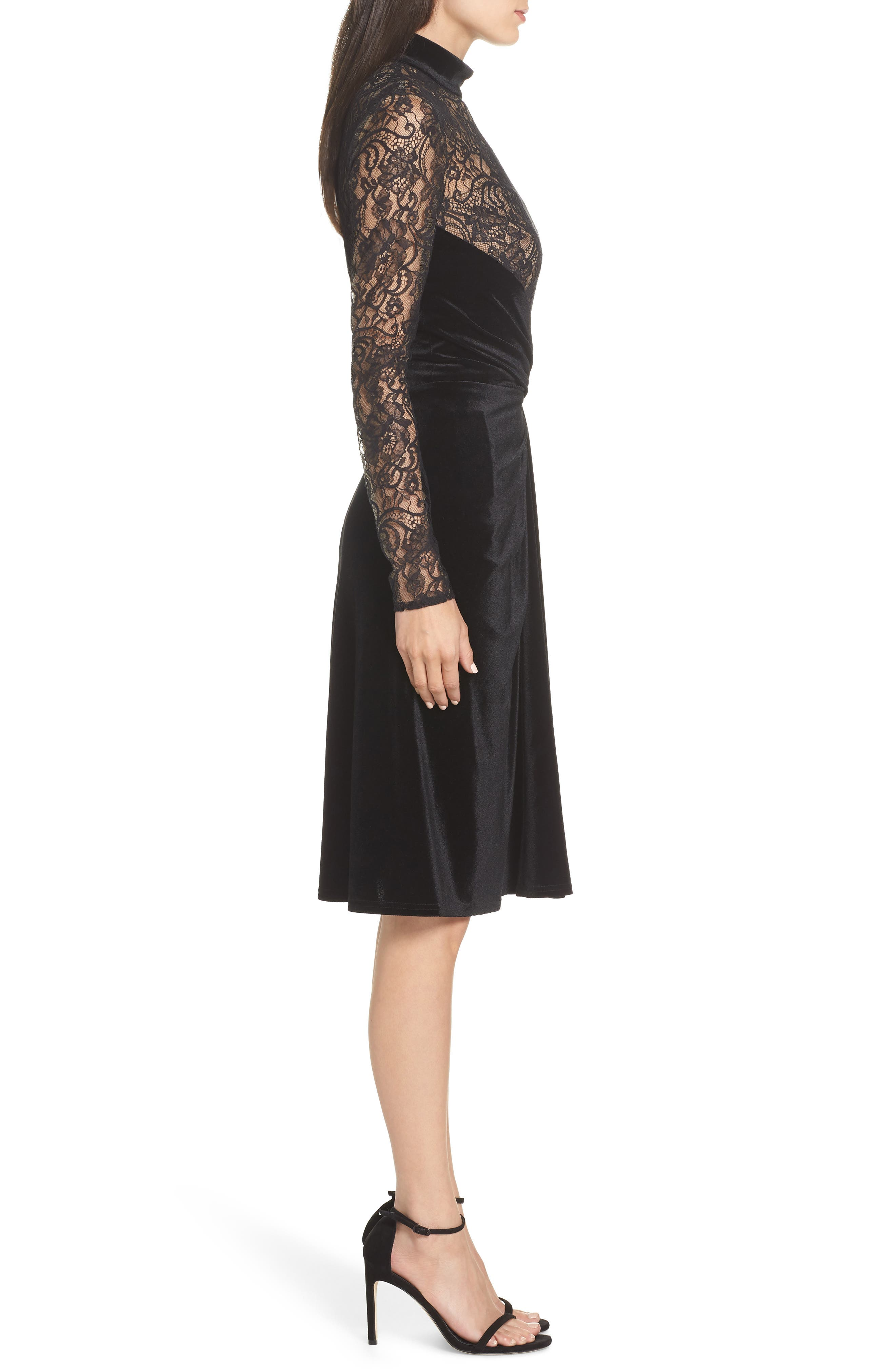 T by Tadashi Lace & Velvet Sheath Dress,                             Alternate thumbnail 3, color,                             BLACK/ NUDE