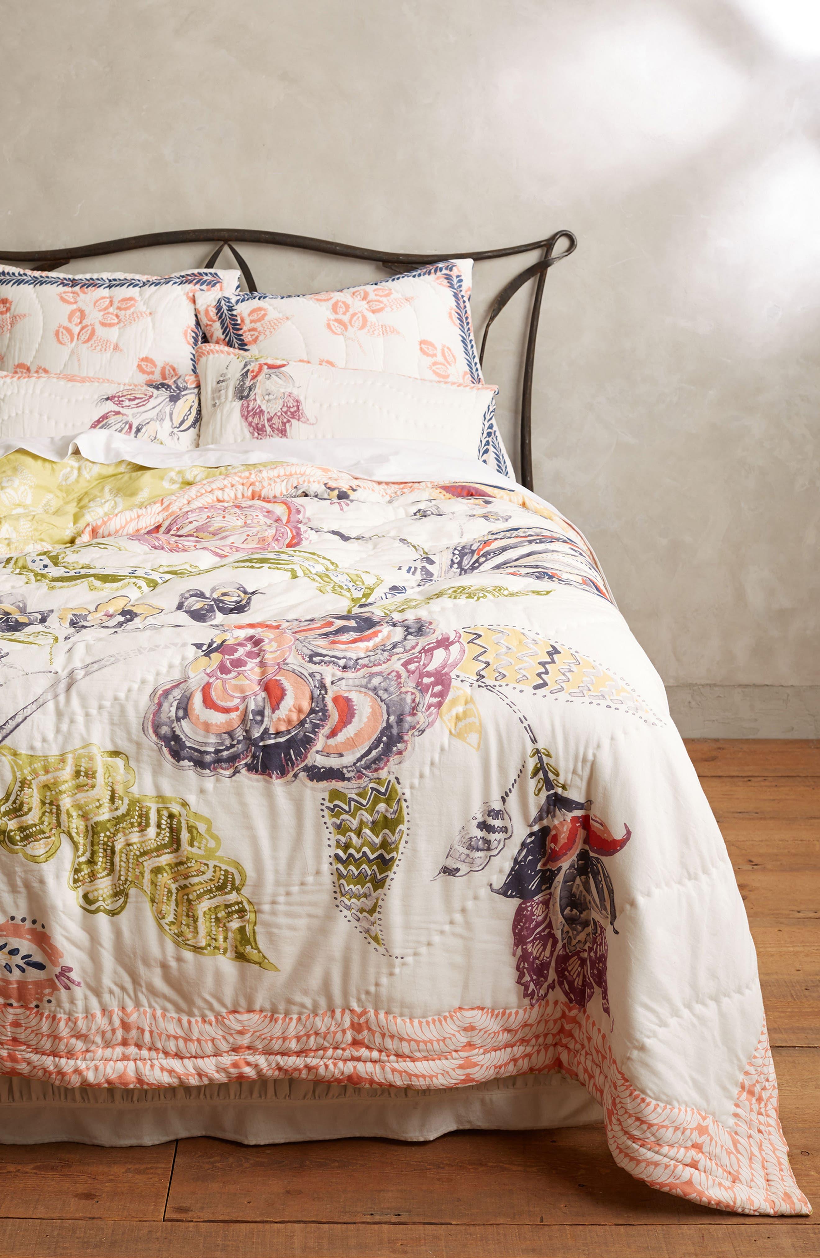 Woodblock Floral Quilt,                         Main,                         color,