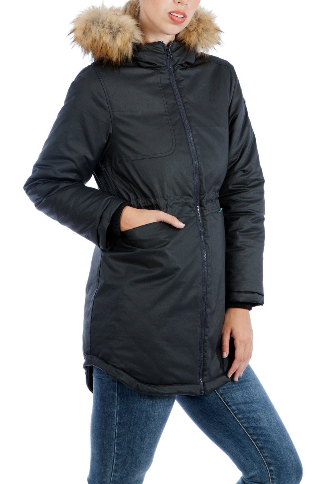 Sofia Waxed 3-in-1 Maternity/Nursing Jacket with Faux Fur Trim,                             Alternate thumbnail 3, color,                             BLACK