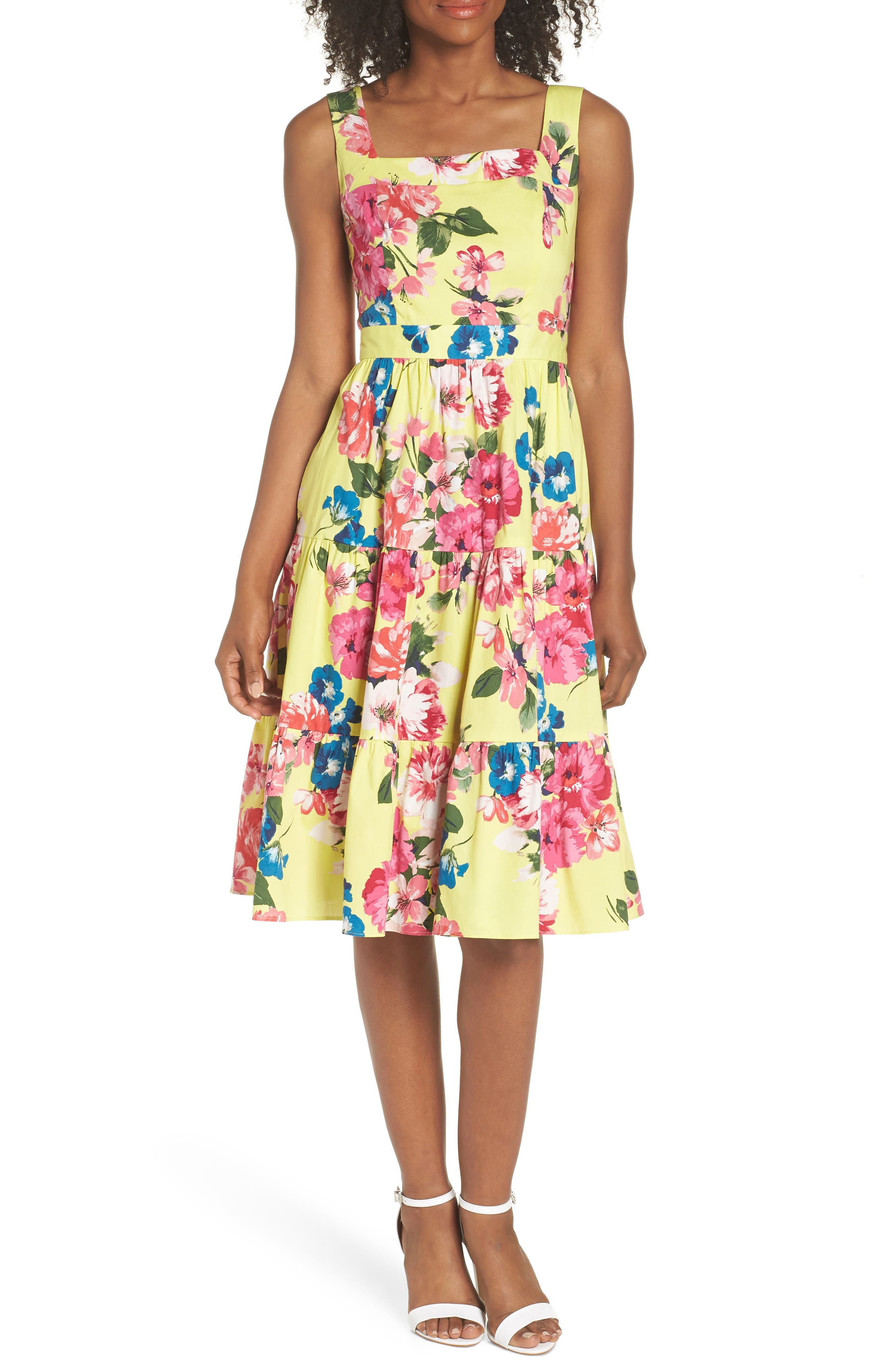 Square Neck Floral Tiered Fit & Flare Midi Dress,                         Main,                         color, 720