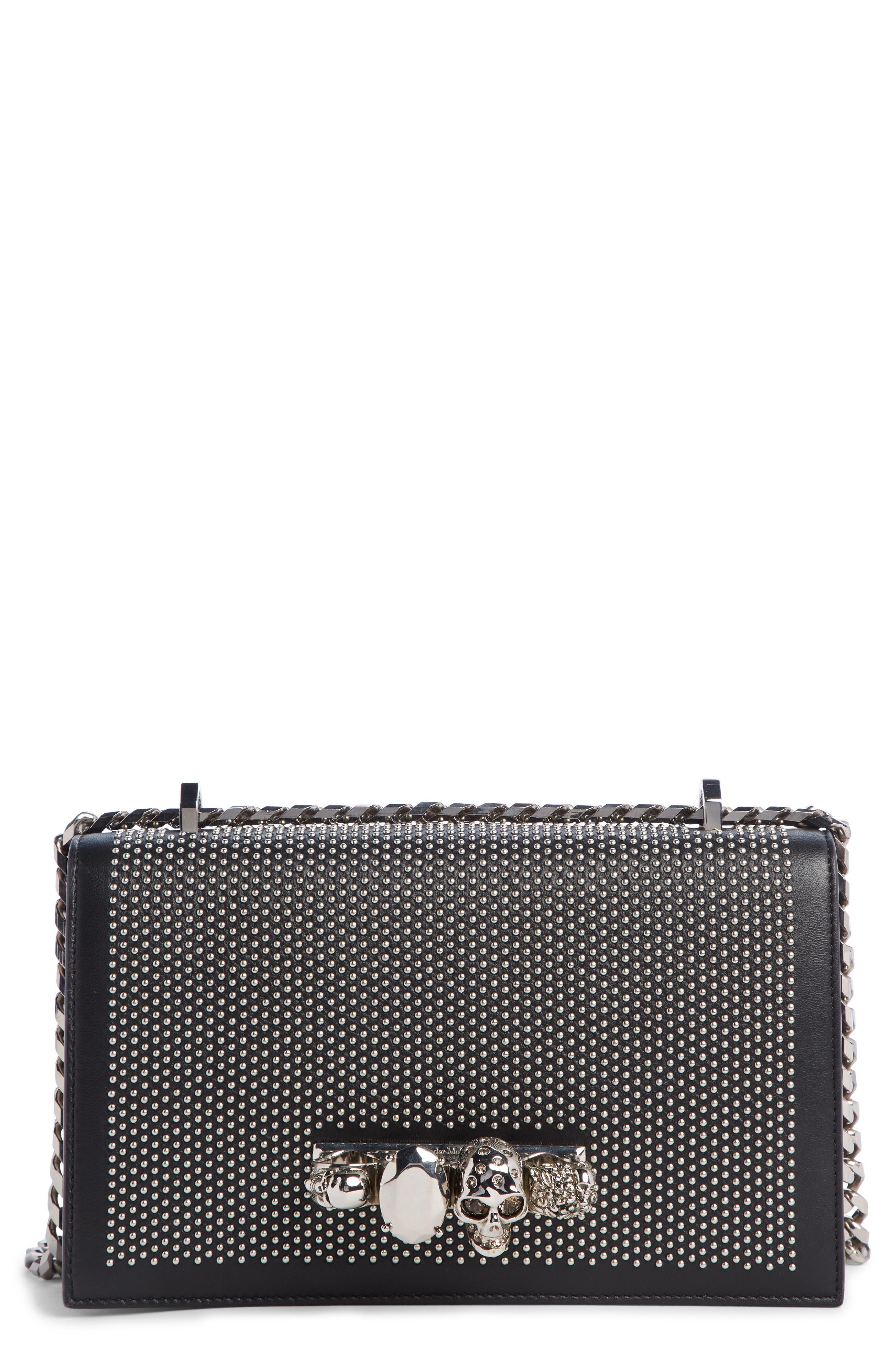 ALEXANDER MCQUEEN,                             Studded Leather Crossbody Knuckle Bag,                             Main thumbnail 1, color,                             BLACK