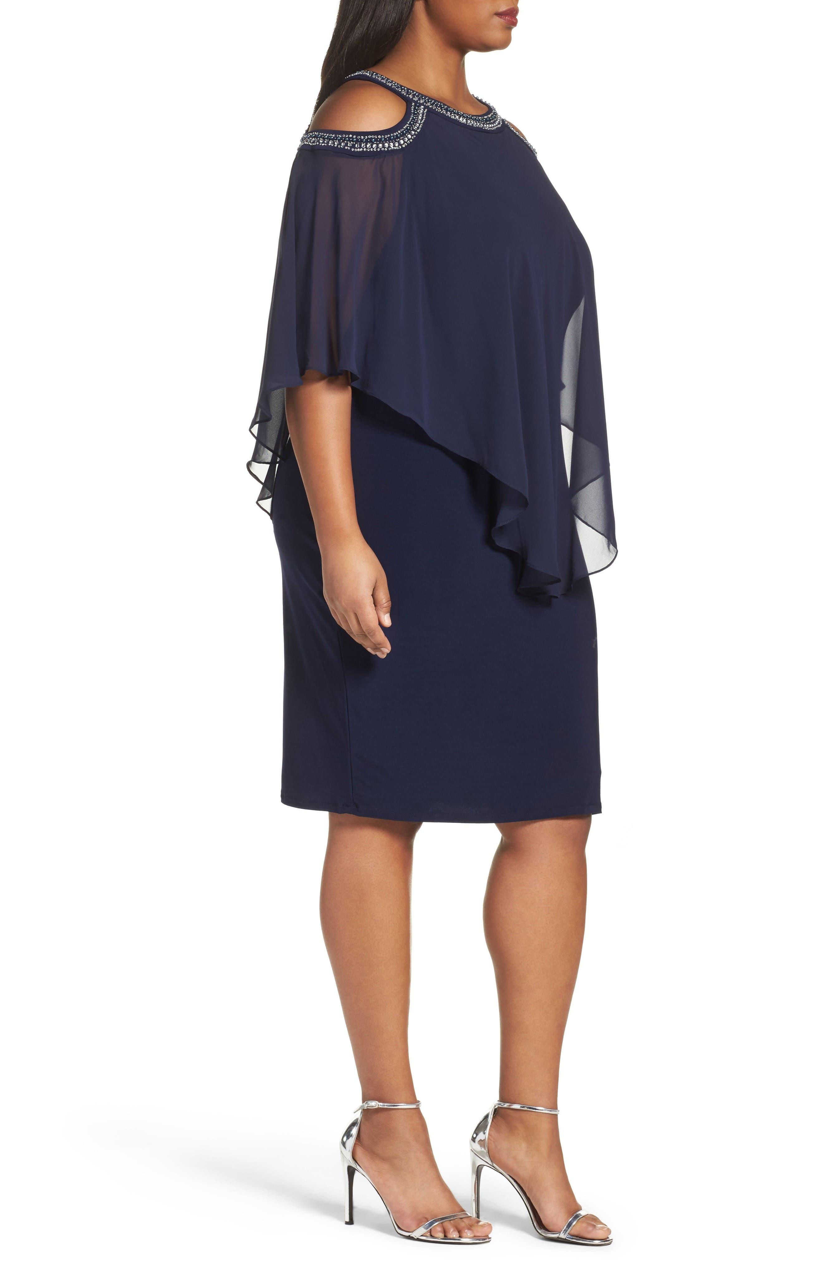 Embellished Cold Shoulder Overlay Cocktail Dress,                             Alternate thumbnail 3, color,                             410