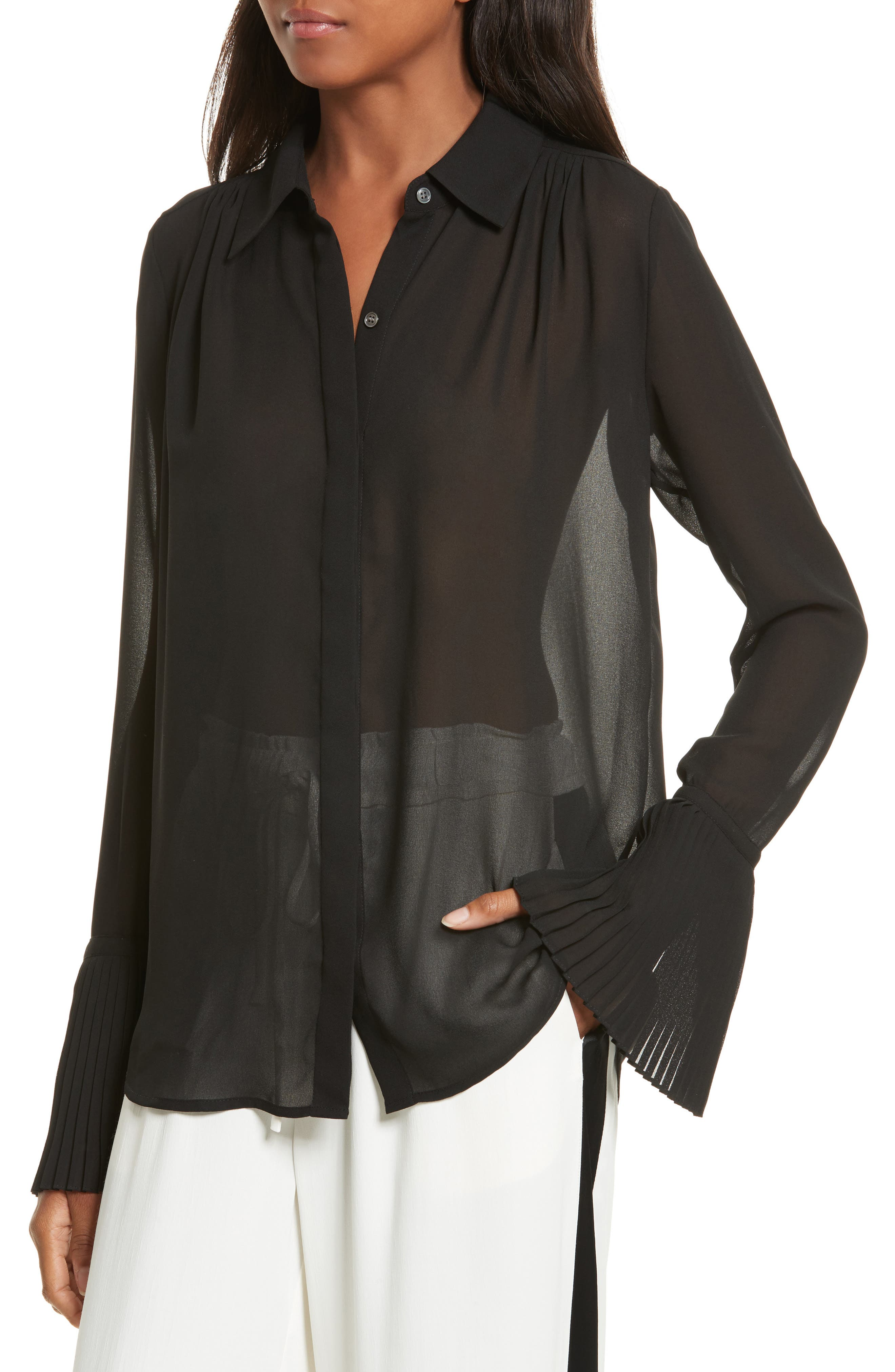 Sheer Pleated Blouse,                             Alternate thumbnail 4, color,