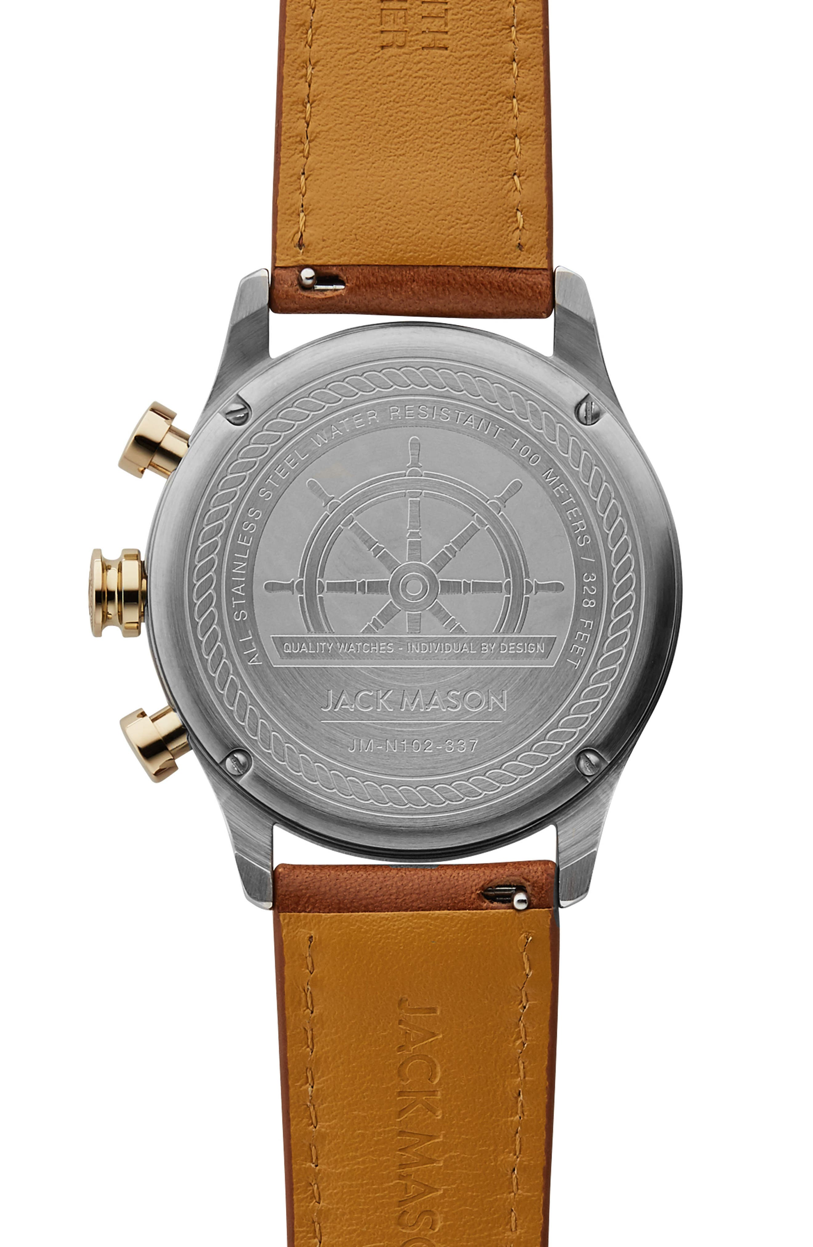 Nautical Chronograph Leather Strap Watch, 42mm,                             Alternate thumbnail 2, color,                             NAVY/ TAN