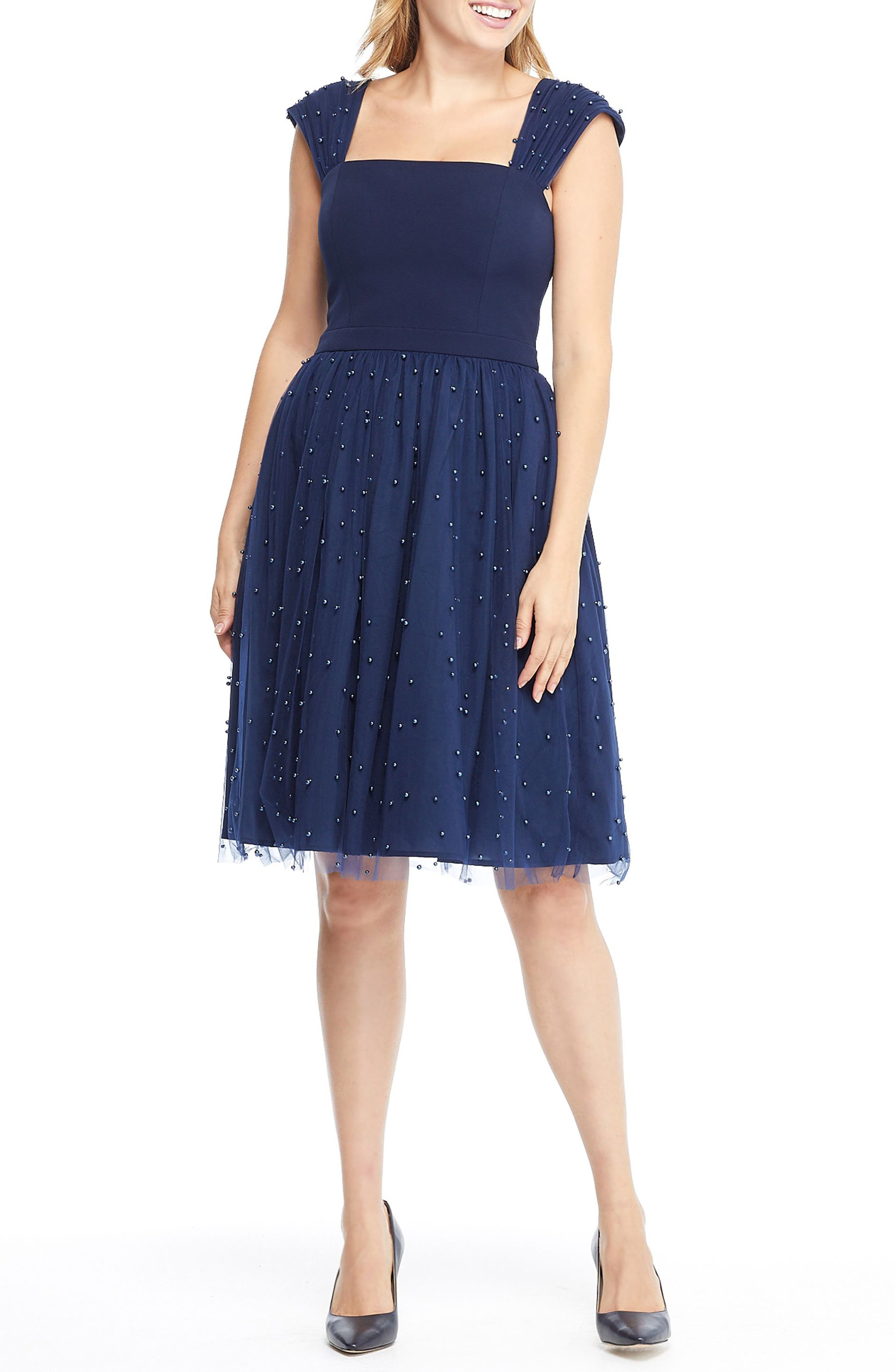 GAL MEETS GLAM COLLECTION Delores Vintage Pearl Mesh & Crepe Dress, Main, color, NAVY