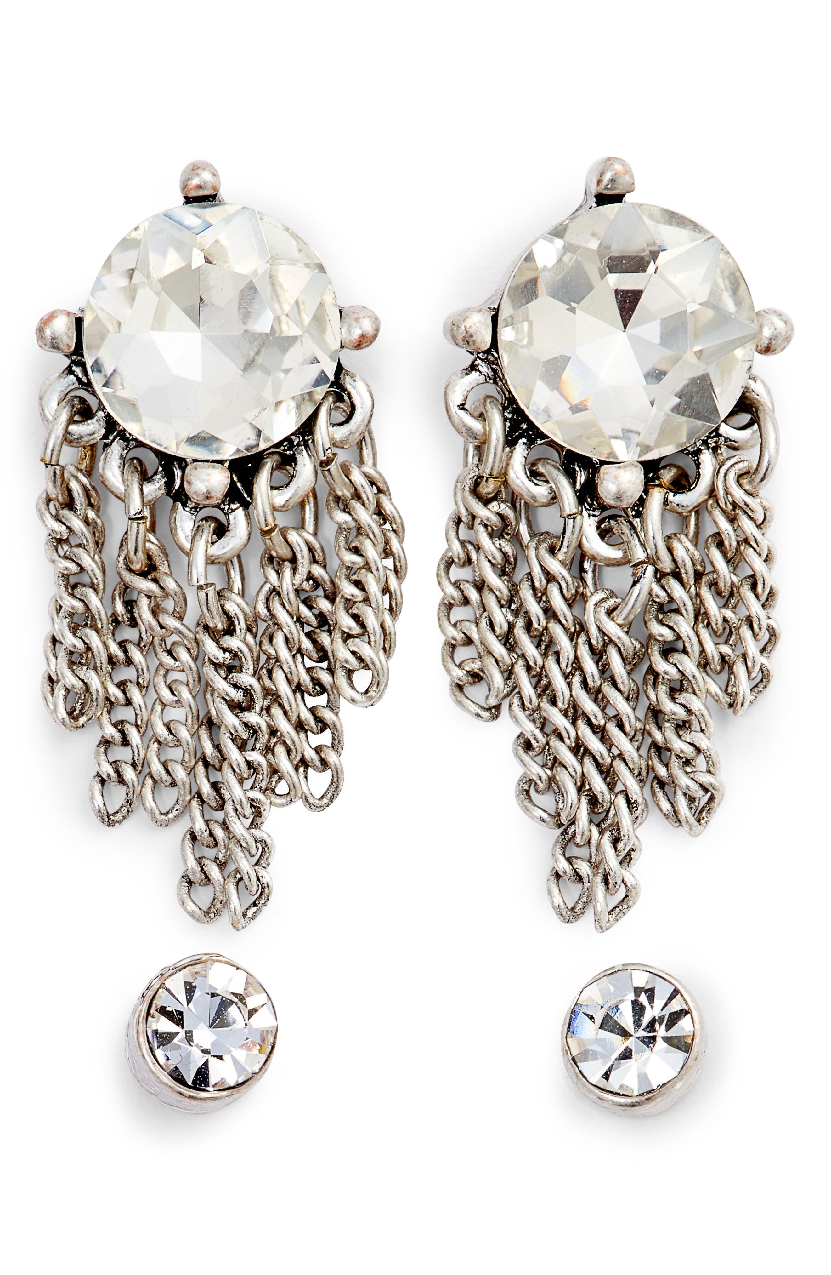 Set of Crystal Drop & Stud Earrings,                             Main thumbnail 1, color,                             040