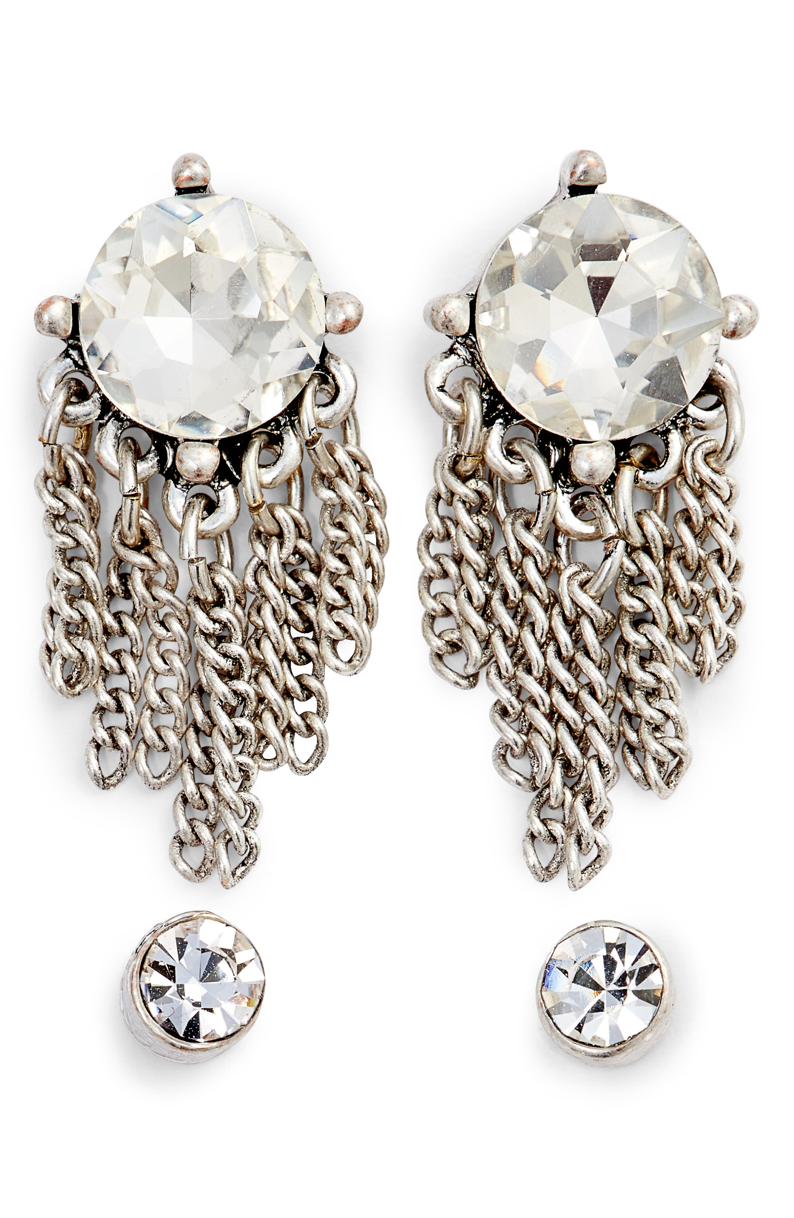 Set of Crystal Drop & Stud Earrings,                         Main,                         color, 040