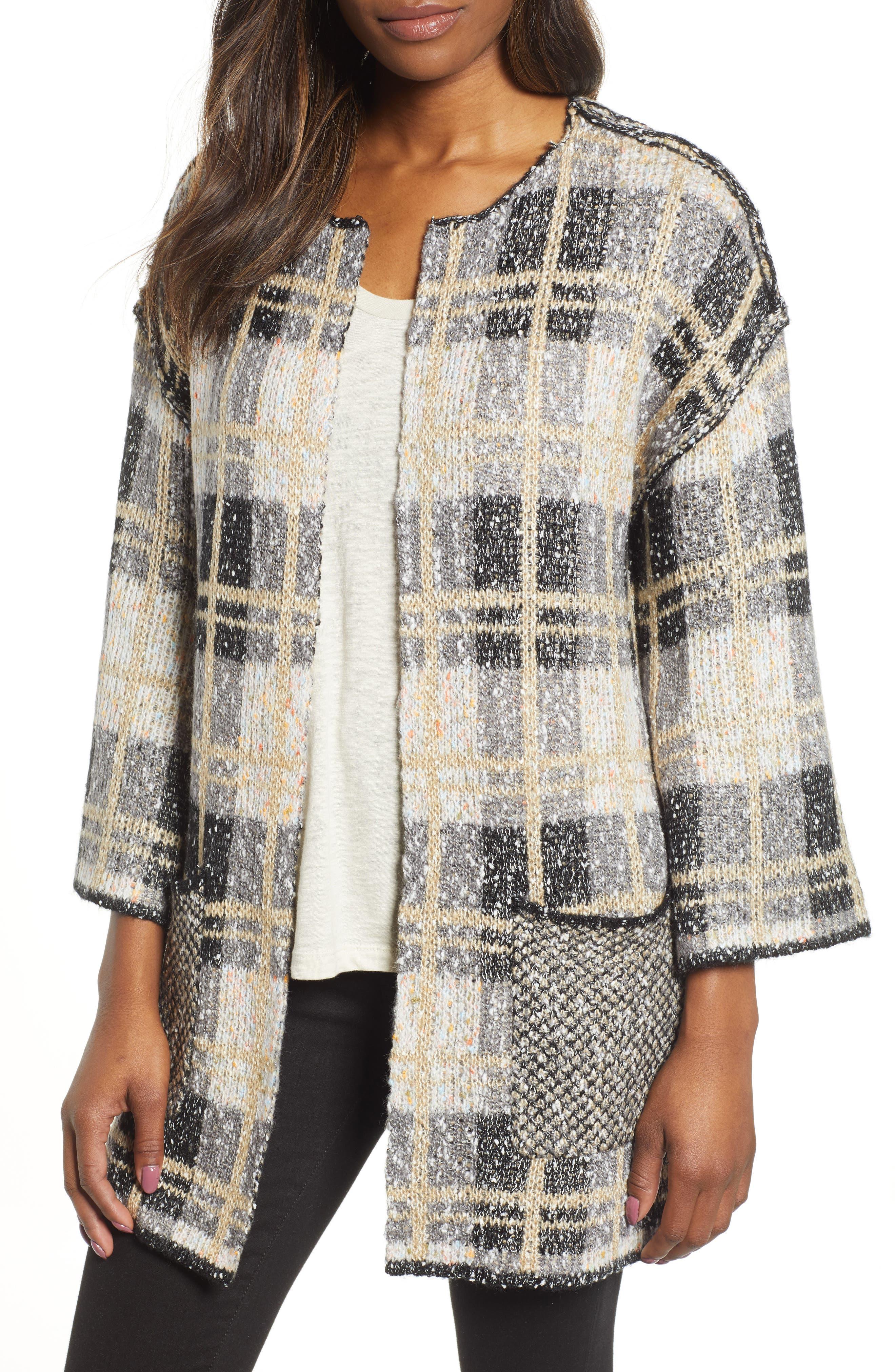 Reversible Plaid Jacquard Sweater Jacket,                             Main thumbnail 1, color,                             GREY