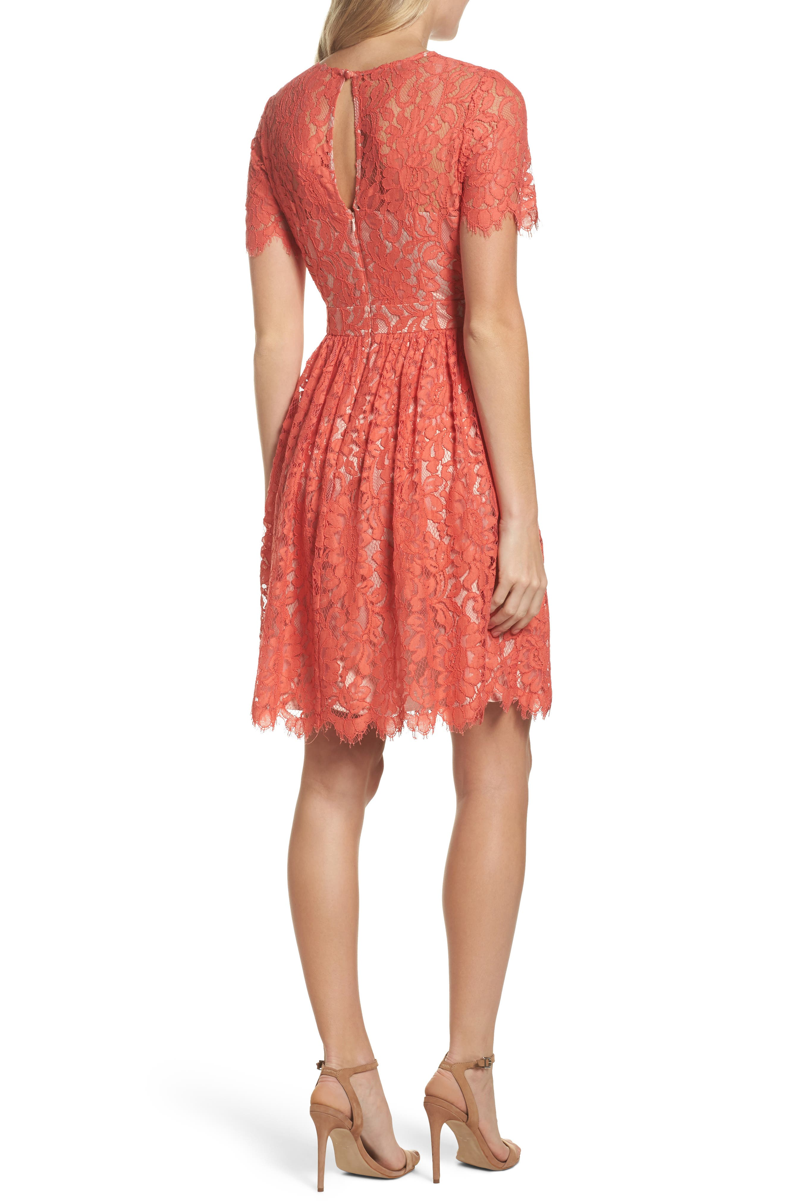 Lace Fit & Flare Dress,                             Alternate thumbnail 2, color,                             651