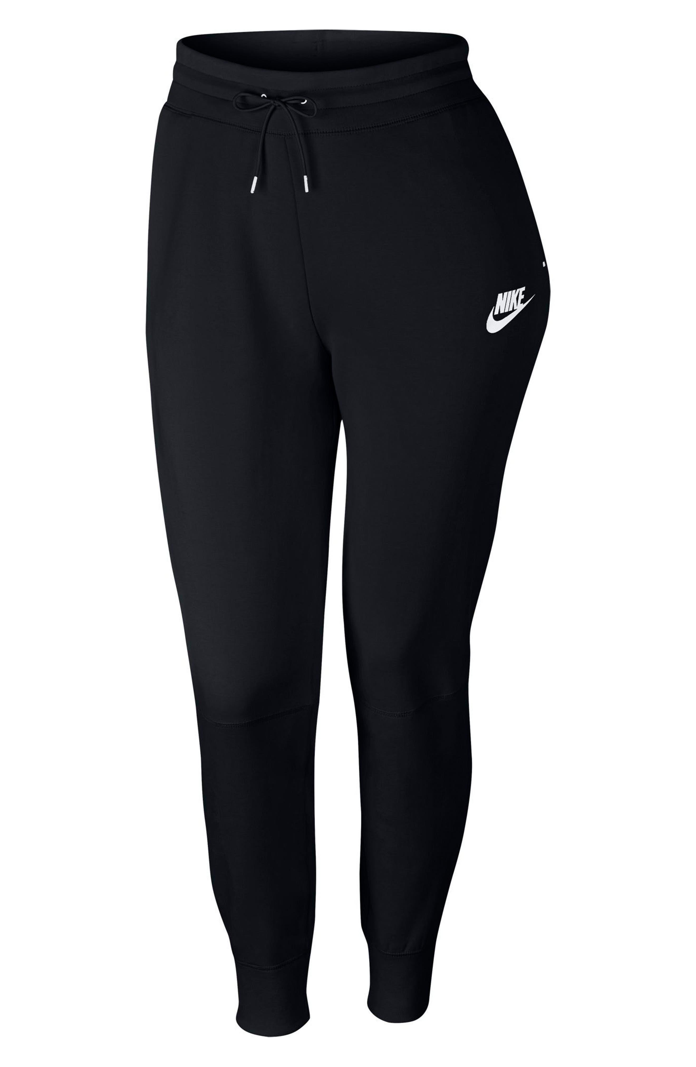 Sportswear High Rise Tech Fleece Jogger Pants,                             Alternate thumbnail 7, color,                             BLACK/ BLACK/ WHITE