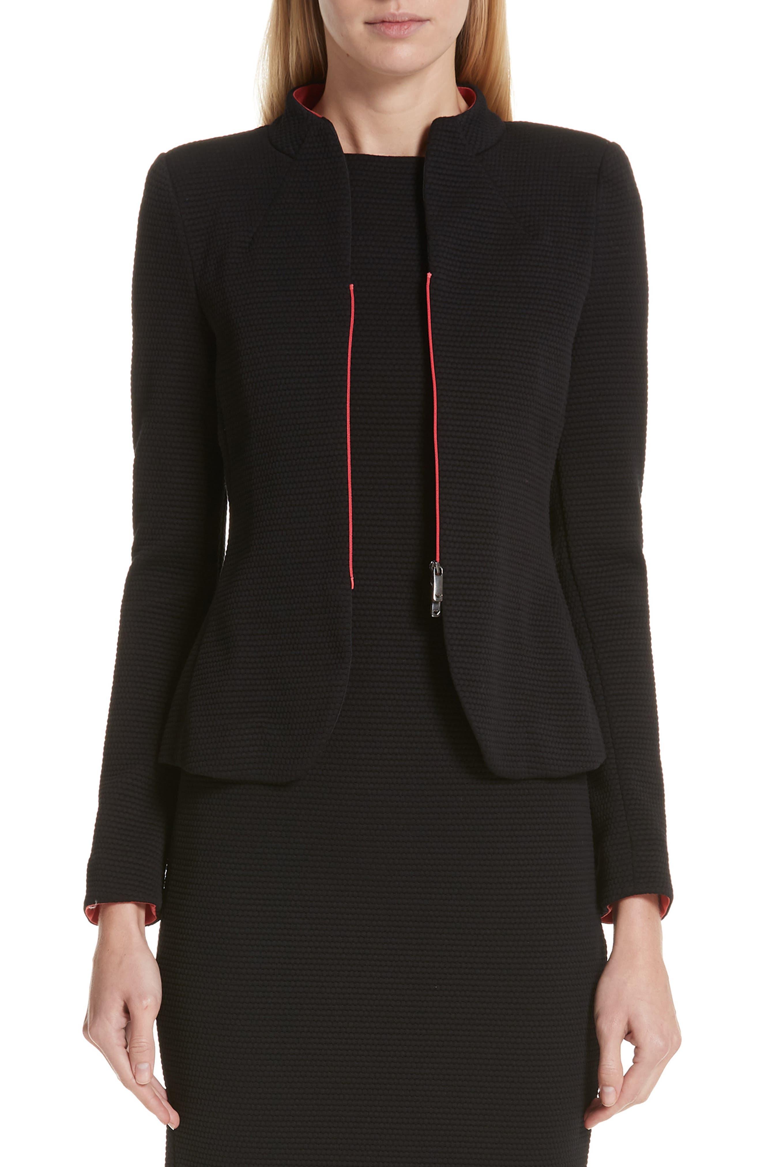 EMPORIO ARMANI Zip-Front Textured Jersey Jacket in Black