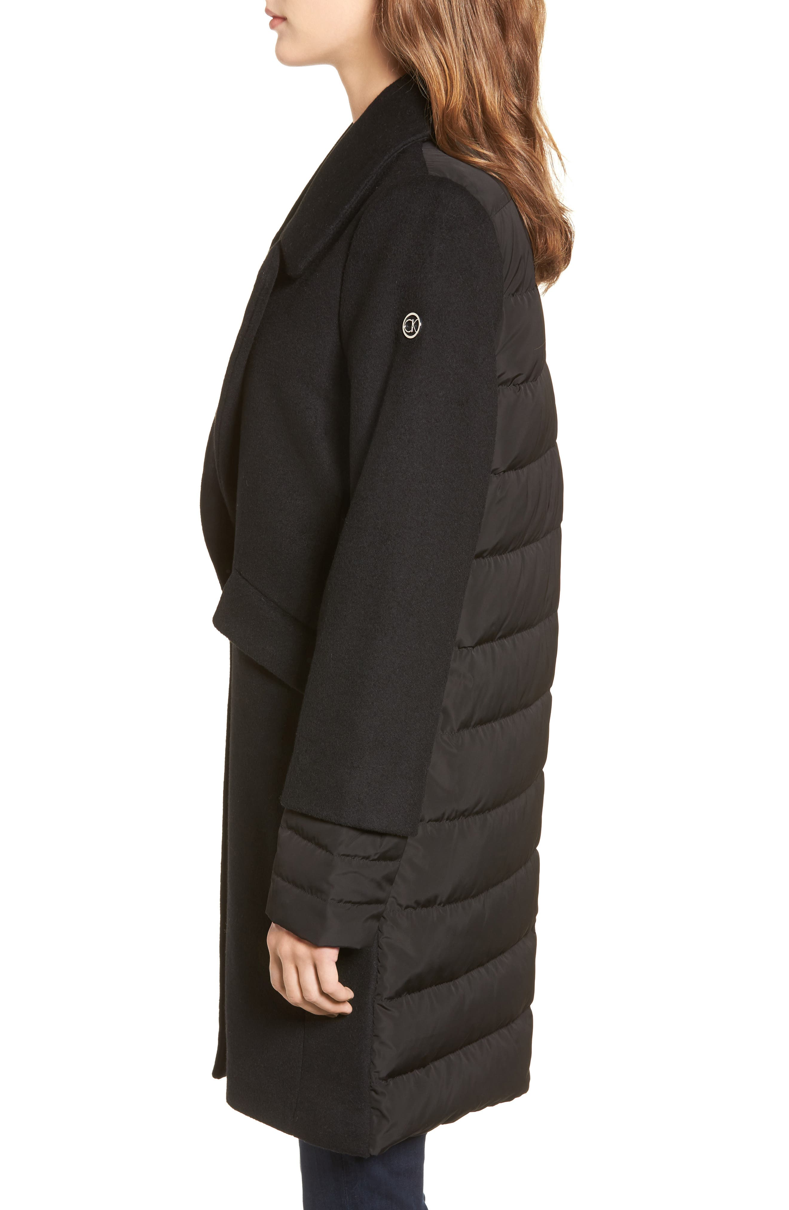 Wool & Down Reefer Coat,                             Alternate thumbnail 3, color,                             001