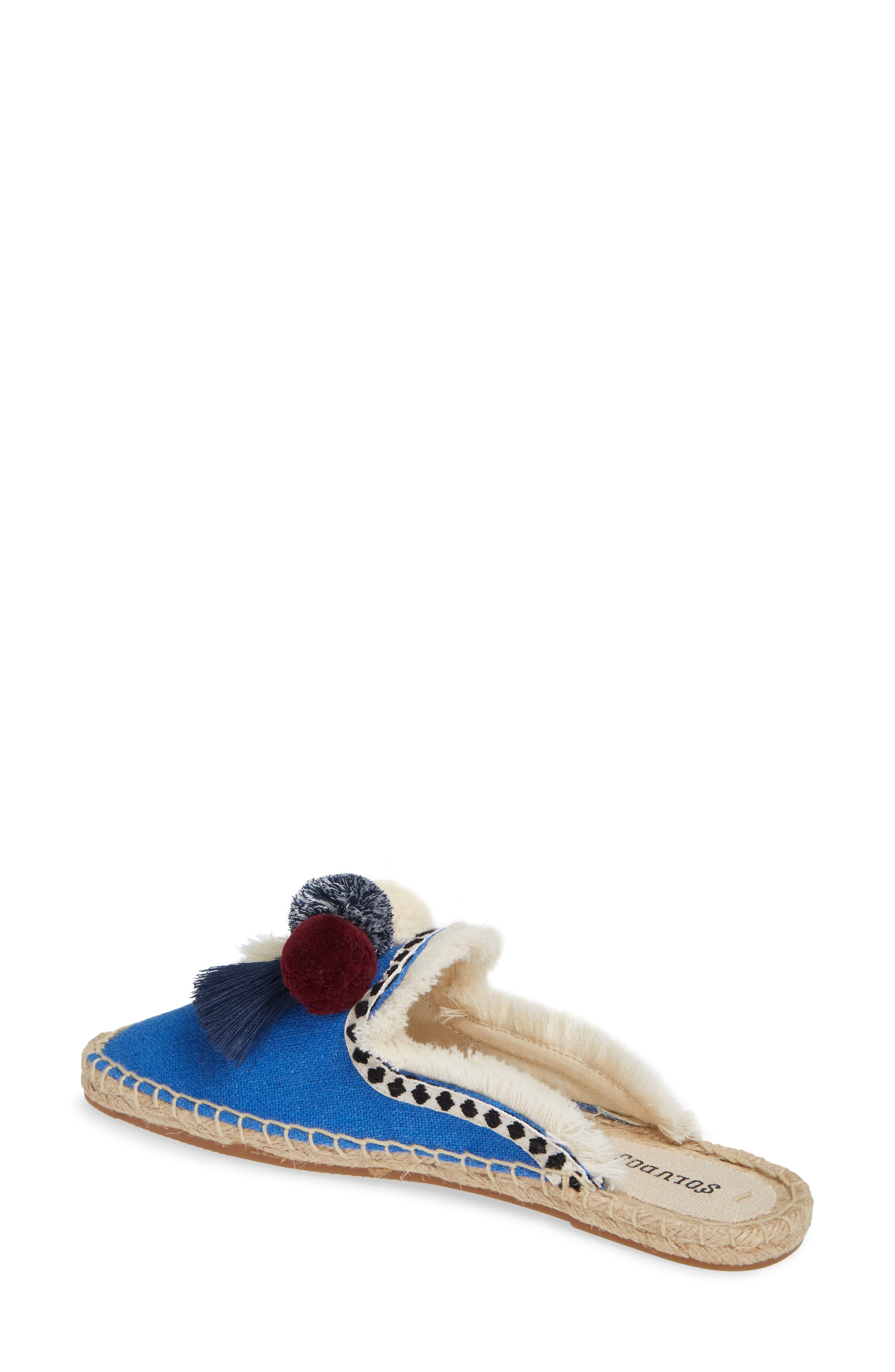 Pompom Espadrille Mule,                             Alternate thumbnail 2, color,                             MARLIN BLUE FABRIC
