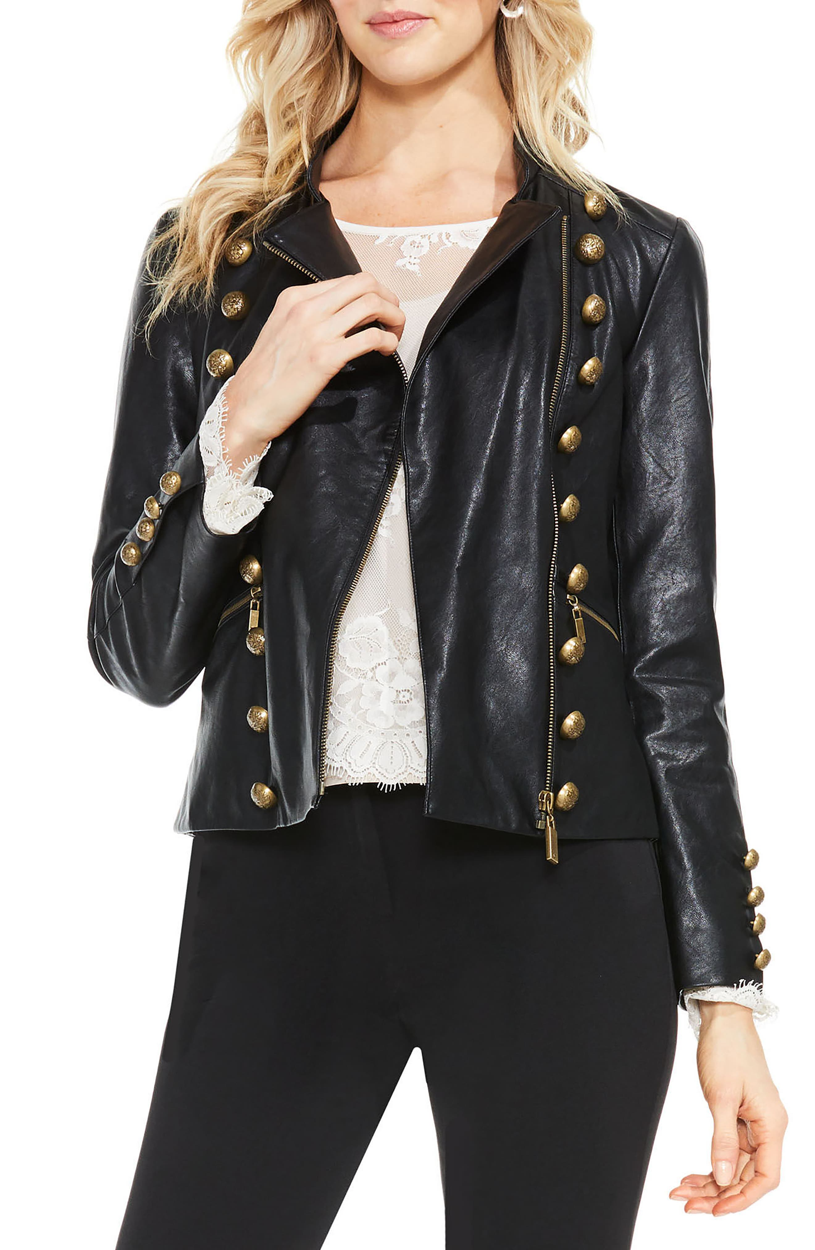 Faux Leather Military Jacket,                             Alternate thumbnail 2, color,                             006