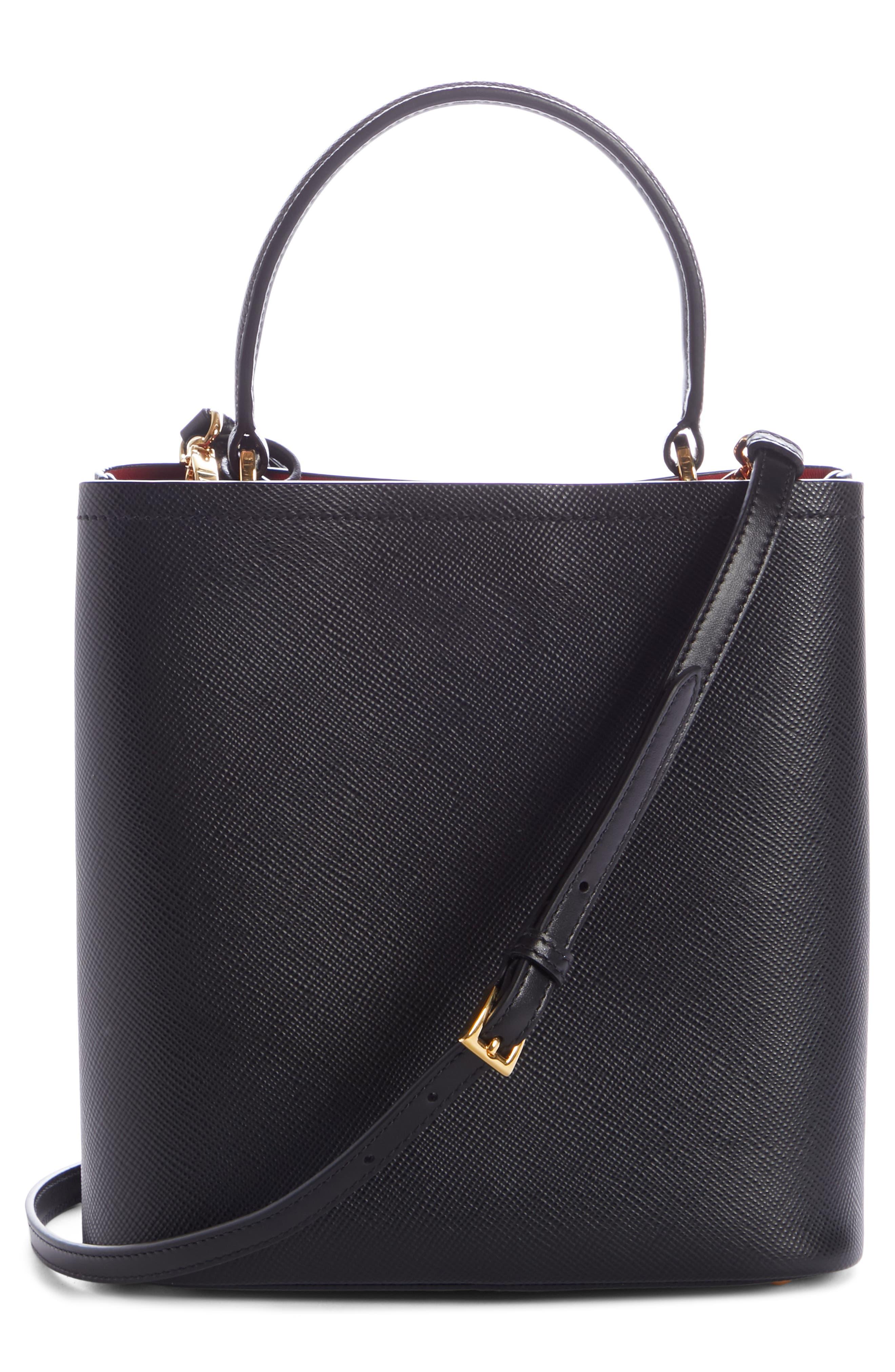 Small Saffiano Leather Bucket Bag,                             Alternate thumbnail 2, color,                             NERO/ FUOCO