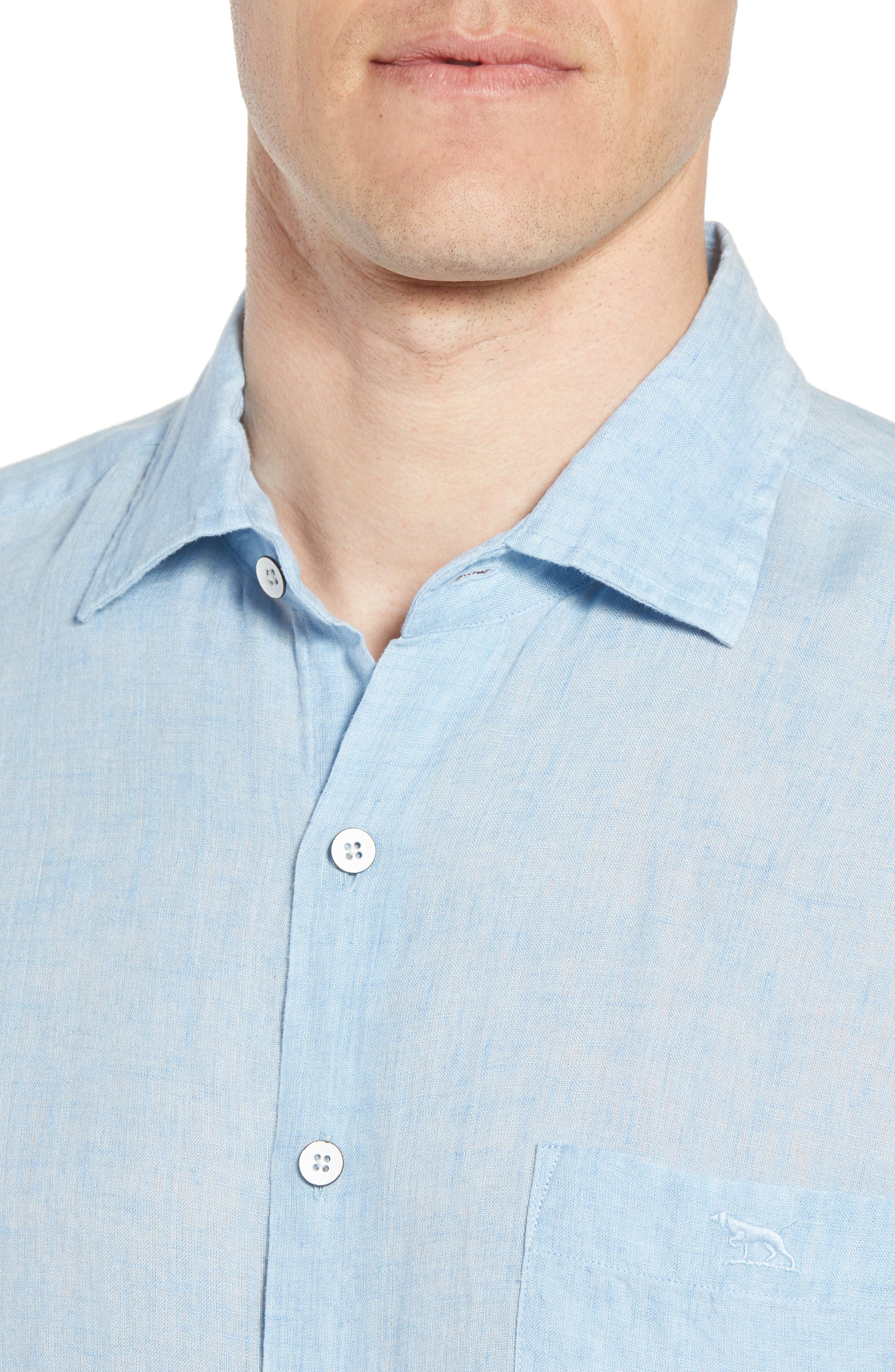 Harris Bay Regular Fit Linen Sport Shirt,                             Alternate thumbnail 4, color,                             STONEWASH