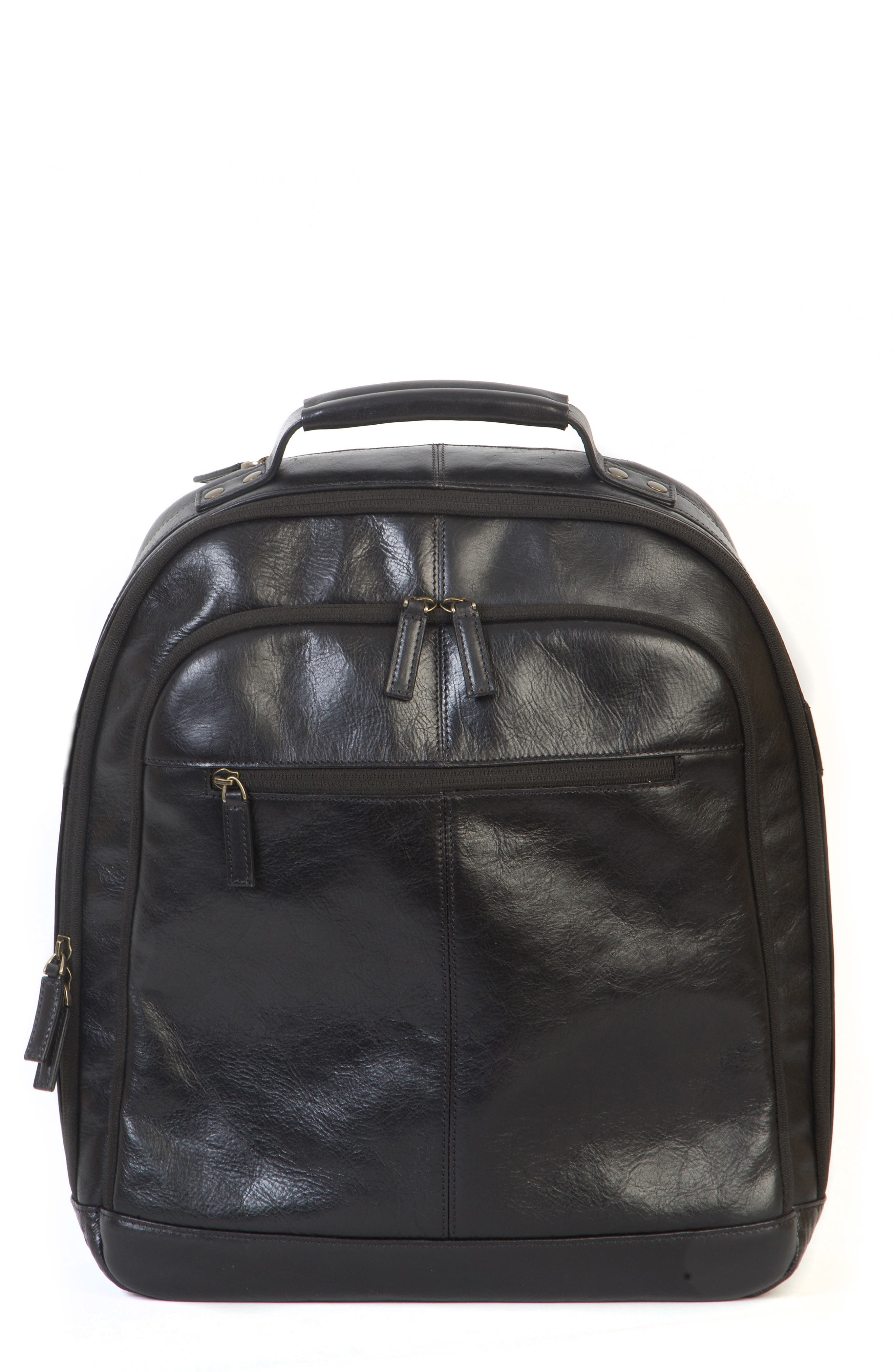 'Becker' Leather Backpack,                             Alternate thumbnail 3, color,                             001