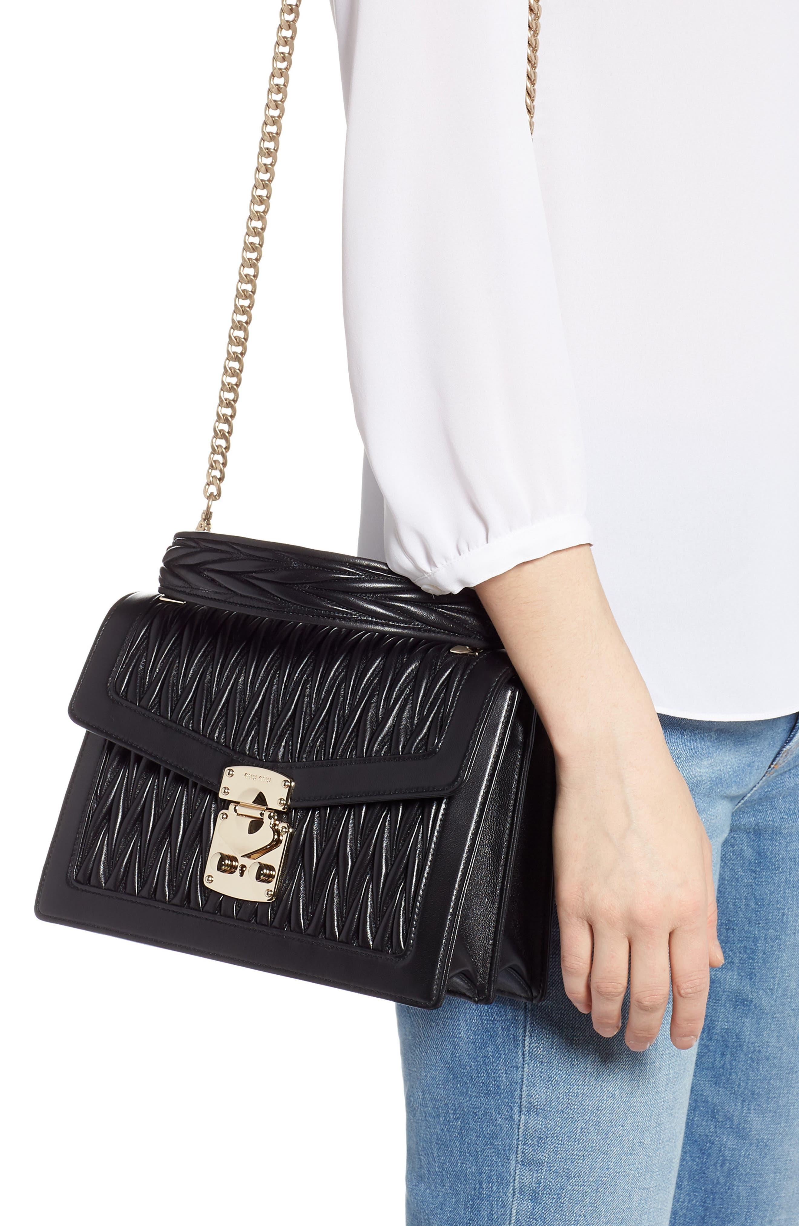 Confidential Matelassé Quilted Lambskin Leather Top Handle Bag,                             Alternate thumbnail 2, color,                             NERO